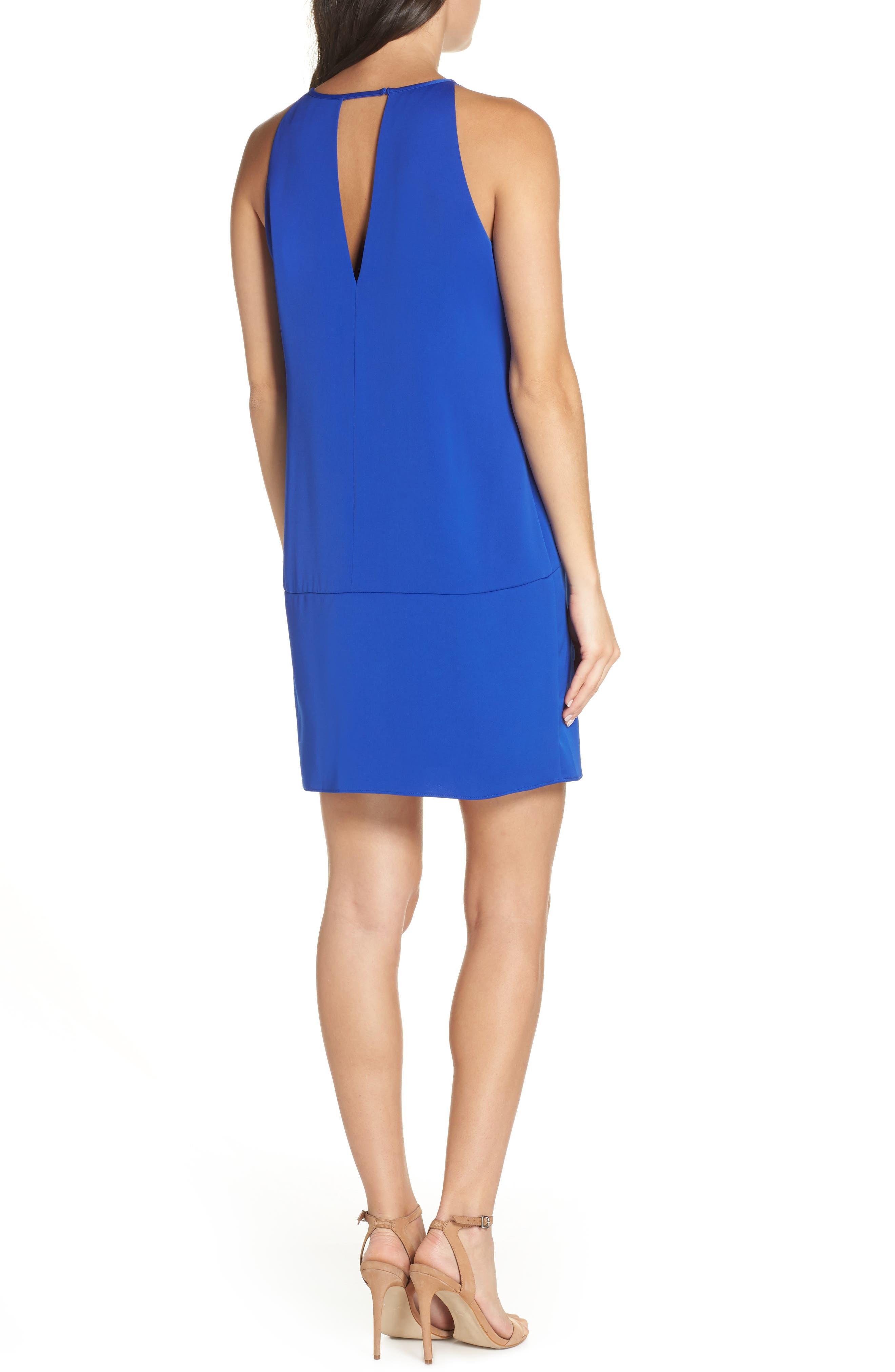 Keyhole Shift Dress,                             Alternate thumbnail 2, color,                             ROYAL BLUE