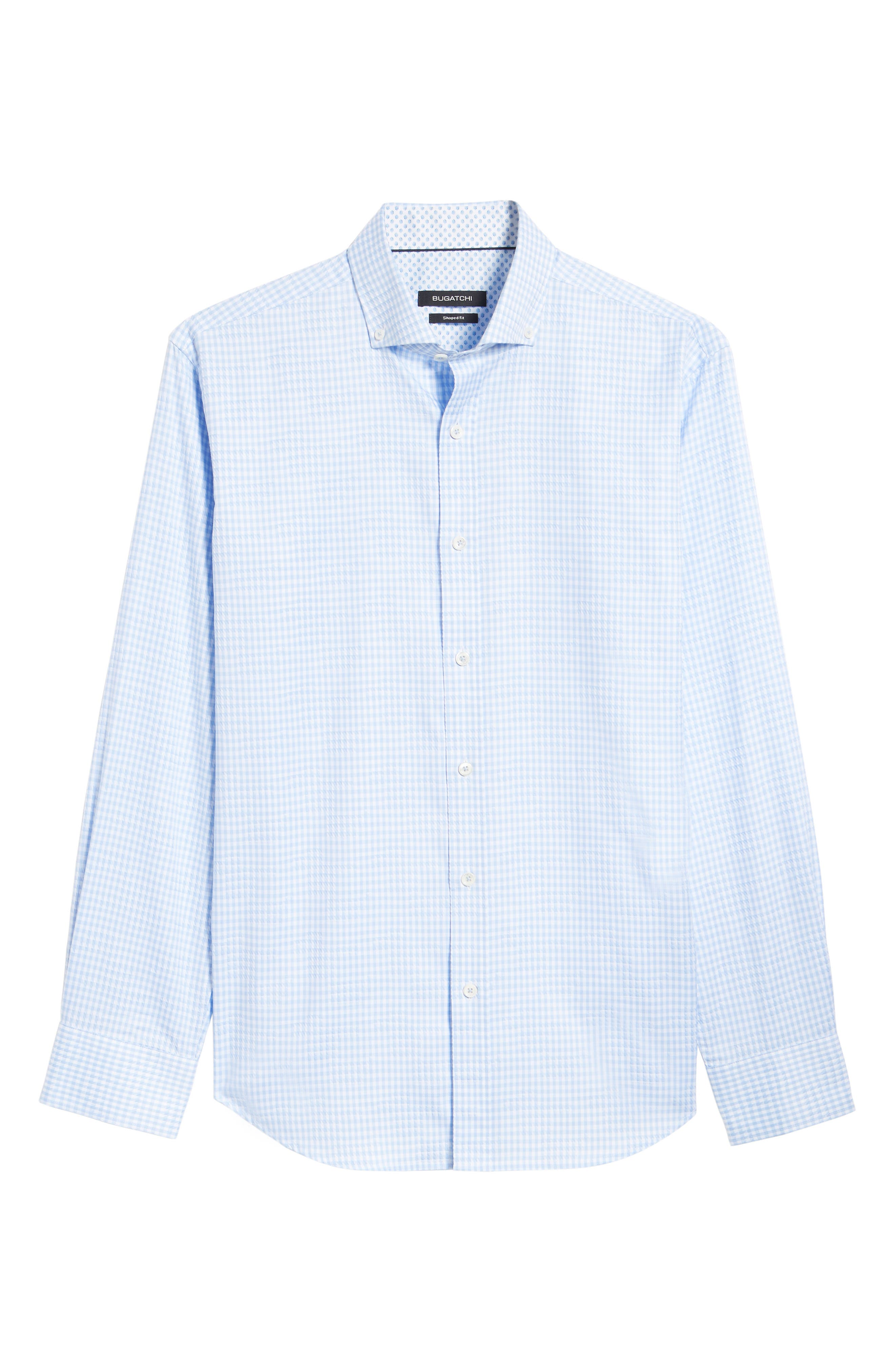 Shaped Fit Gingham Sport Shirt,                             Alternate thumbnail 6, color,                             459
