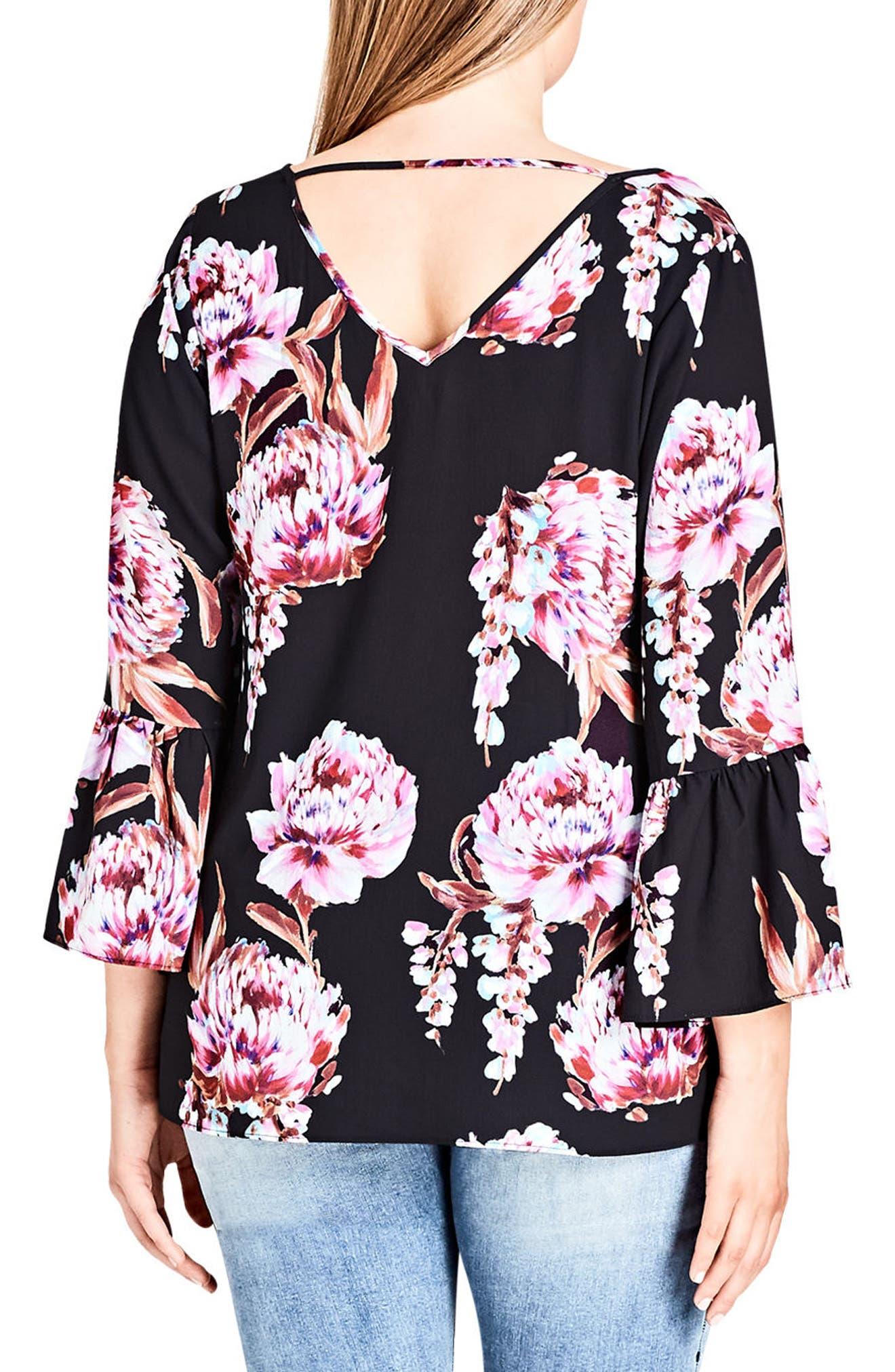 Floral Cascade V-Back Top,                             Alternate thumbnail 2, color,                             001
