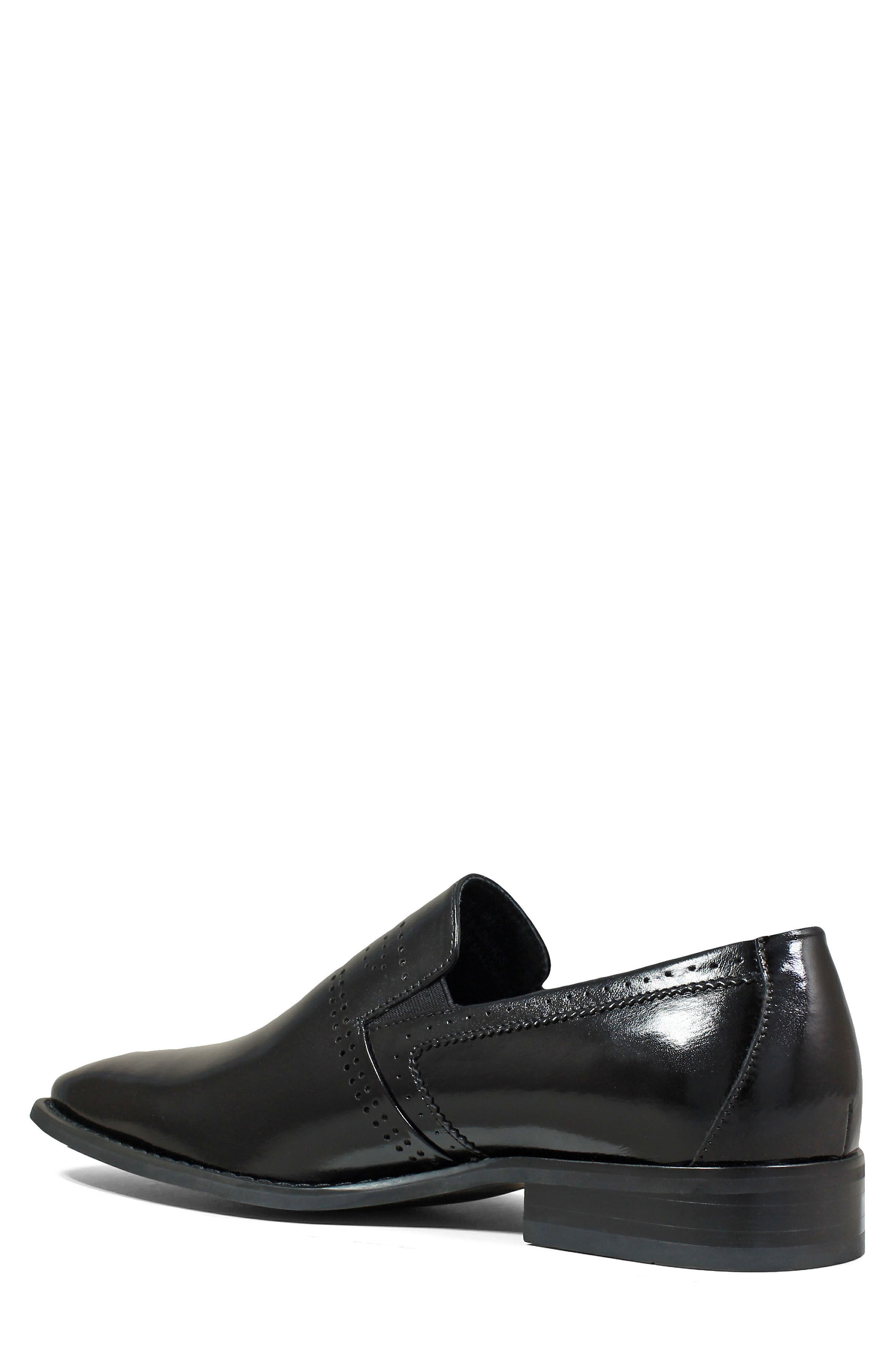 Saunders Perforated Venetian Loafer,                             Alternate thumbnail 2, color,                             BLACK LEATHER