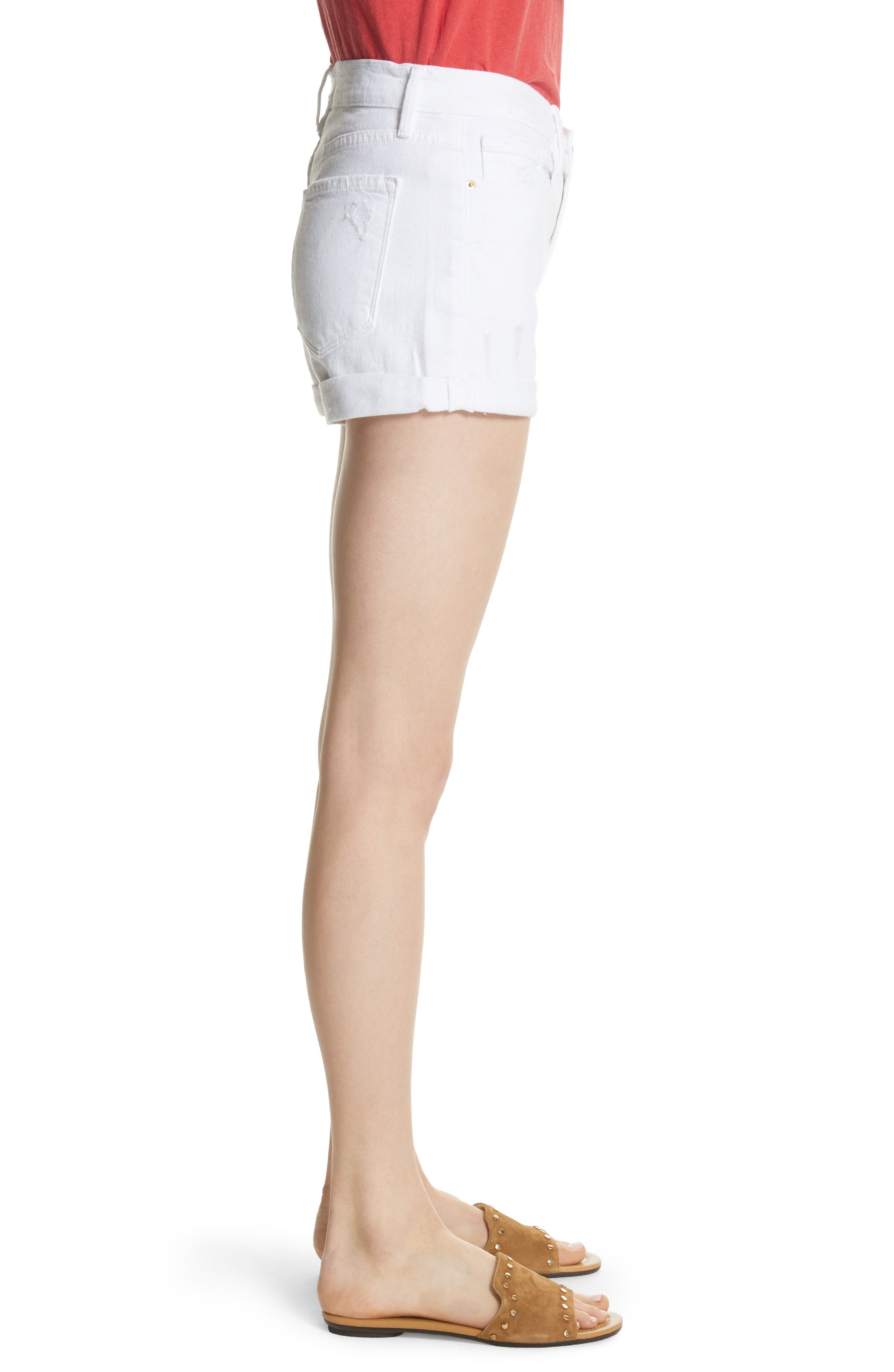 Le Cutoff Cuffed Jean Shorts,                             Alternate thumbnail 3, color,                             BLANC ROOKLEY
