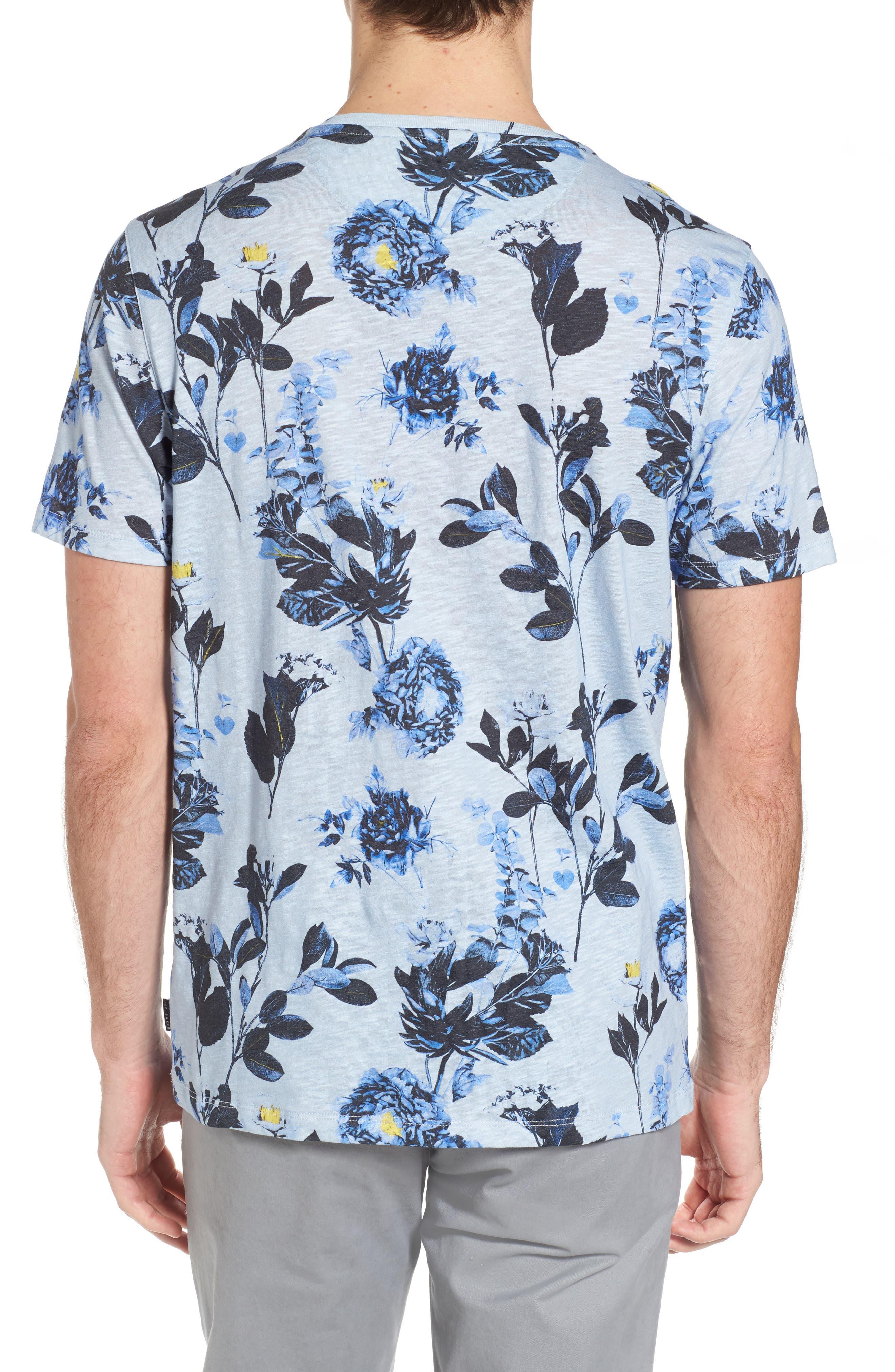 Doberma Trim Fit Floral Print T-Shirt,                             Alternate thumbnail 4, color,