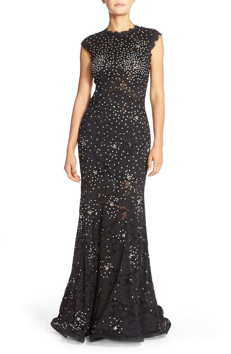 23a7301a7b683 Betsy   Adam Embellished Lace Mermaid Gown