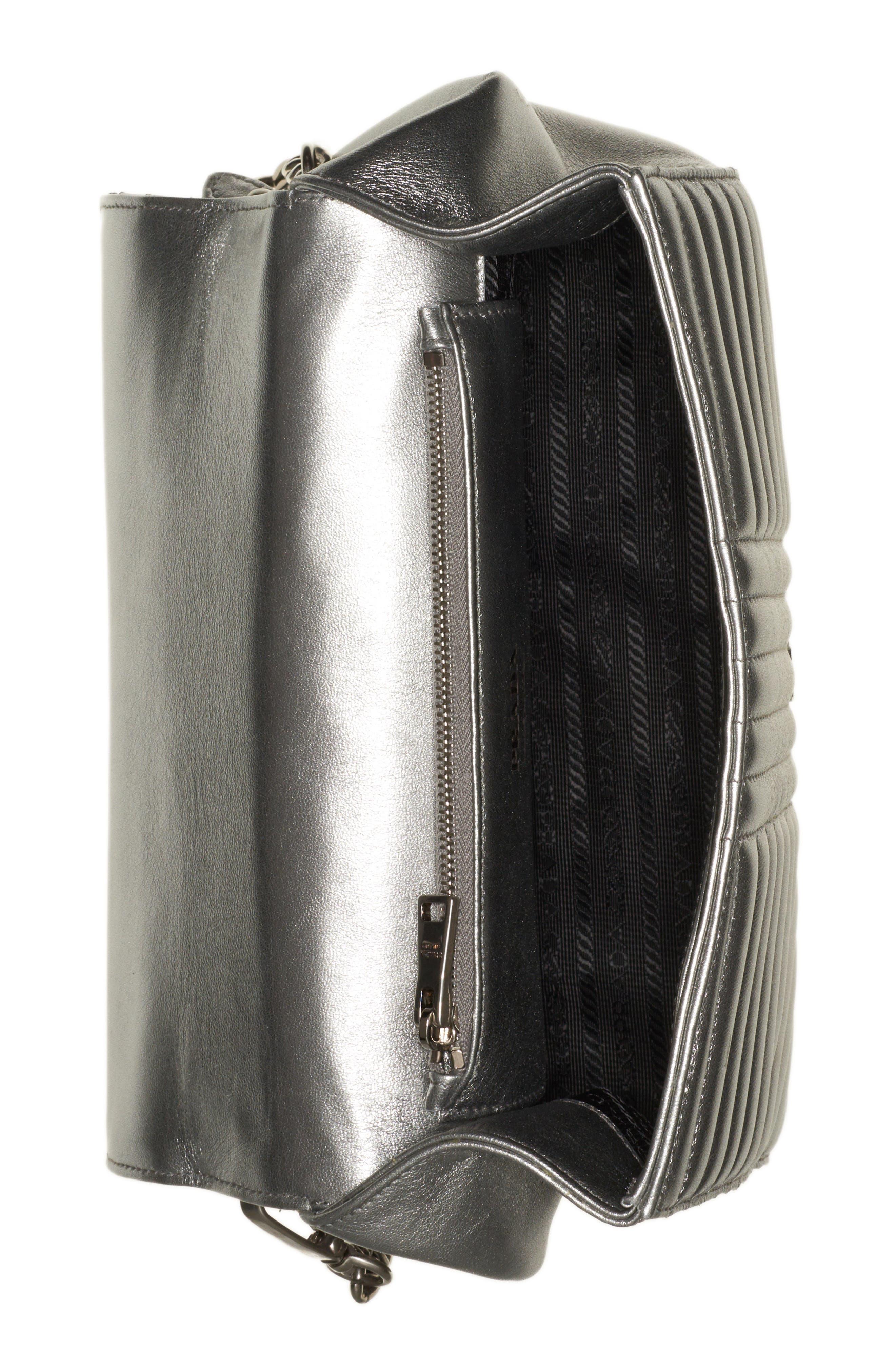 Quilted Metallic Lambskin Leather Handbag,                             Alternate thumbnail 3, color,                             CROMO