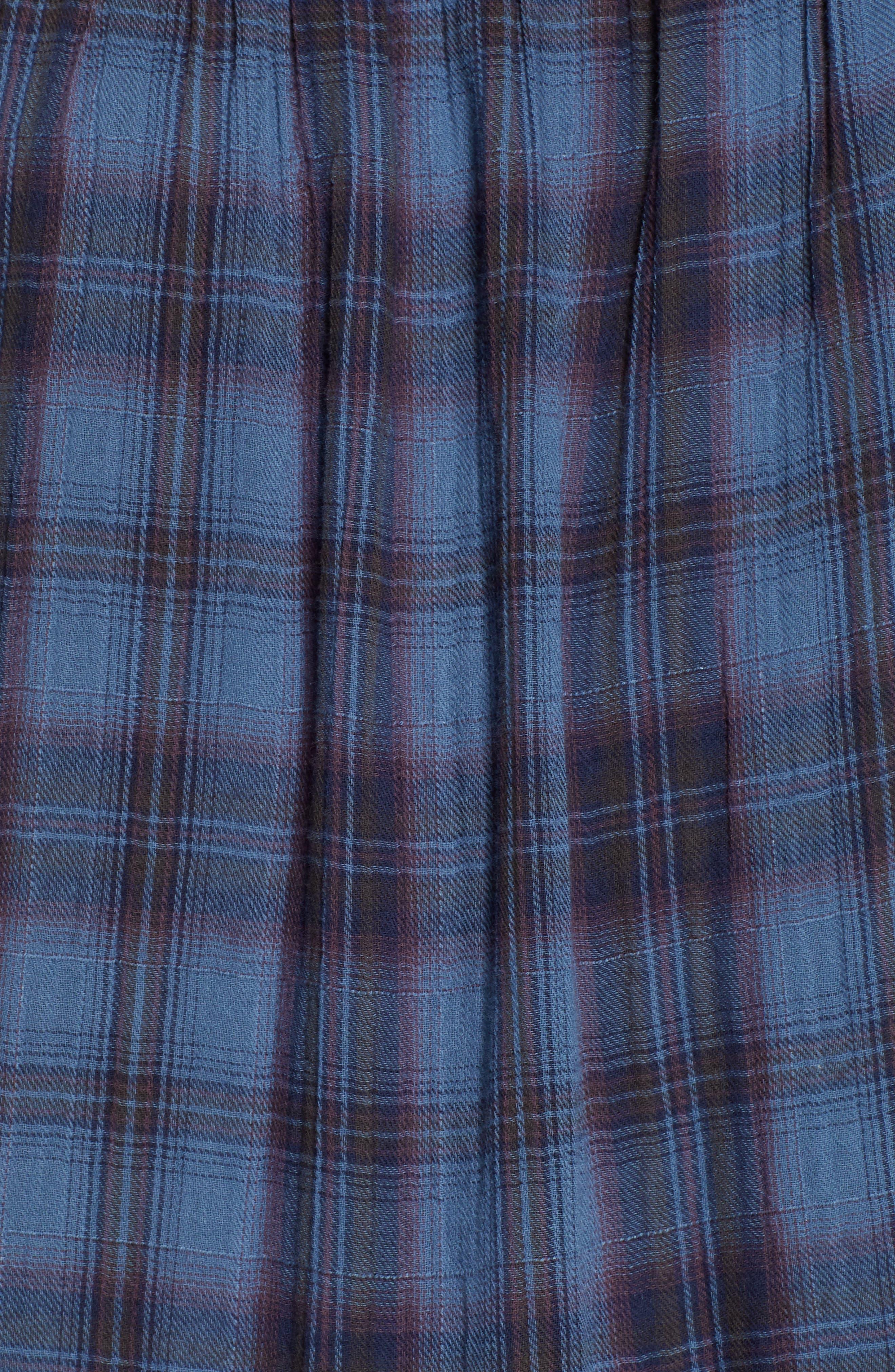 Soft Tiered Plaid Cotton Shift Dress,                             Alternate thumbnail 6, color,                             437