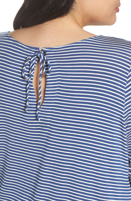 Ruffle Cuff Stripe Top,                             Alternate thumbnail 4, color,                             486