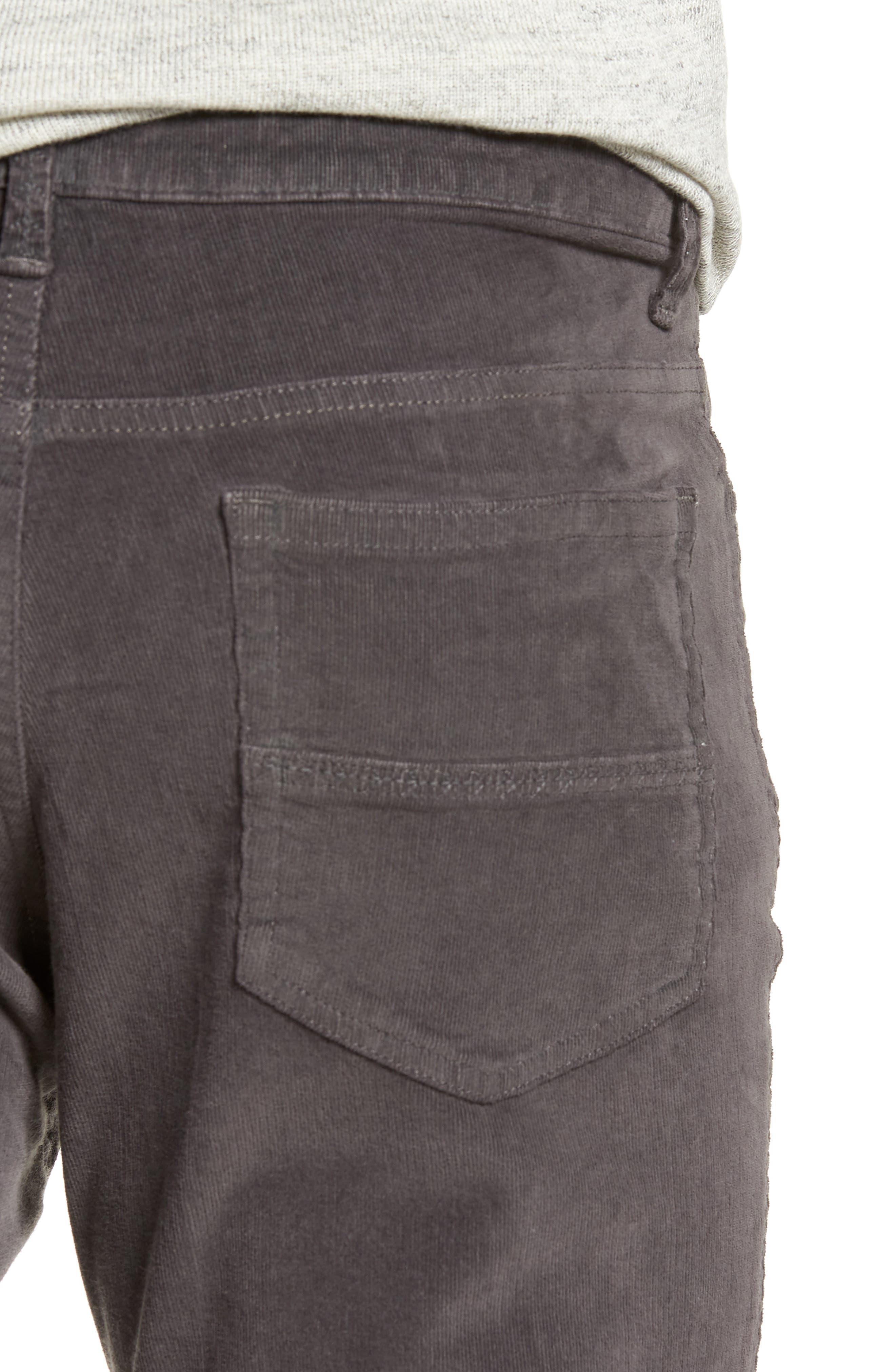VINTAGE 1946,                             Modern Fit Stretch Corduroy Pants,                             Alternate thumbnail 4, color,                             CHARCOAL
