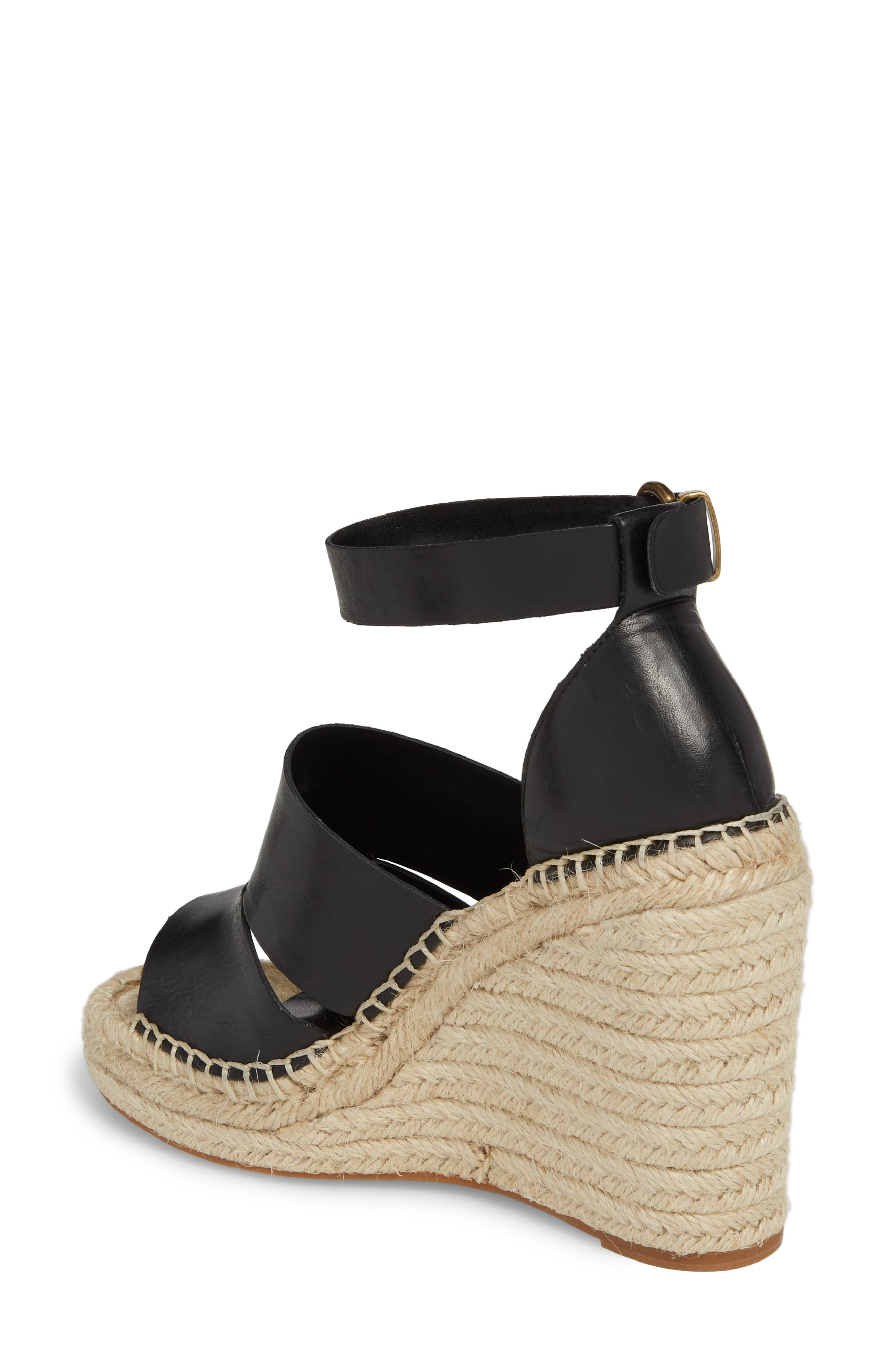 Sannibel Platform Wedge Sandal,                             Alternate thumbnail 2, color,                             BLACK LEATHER