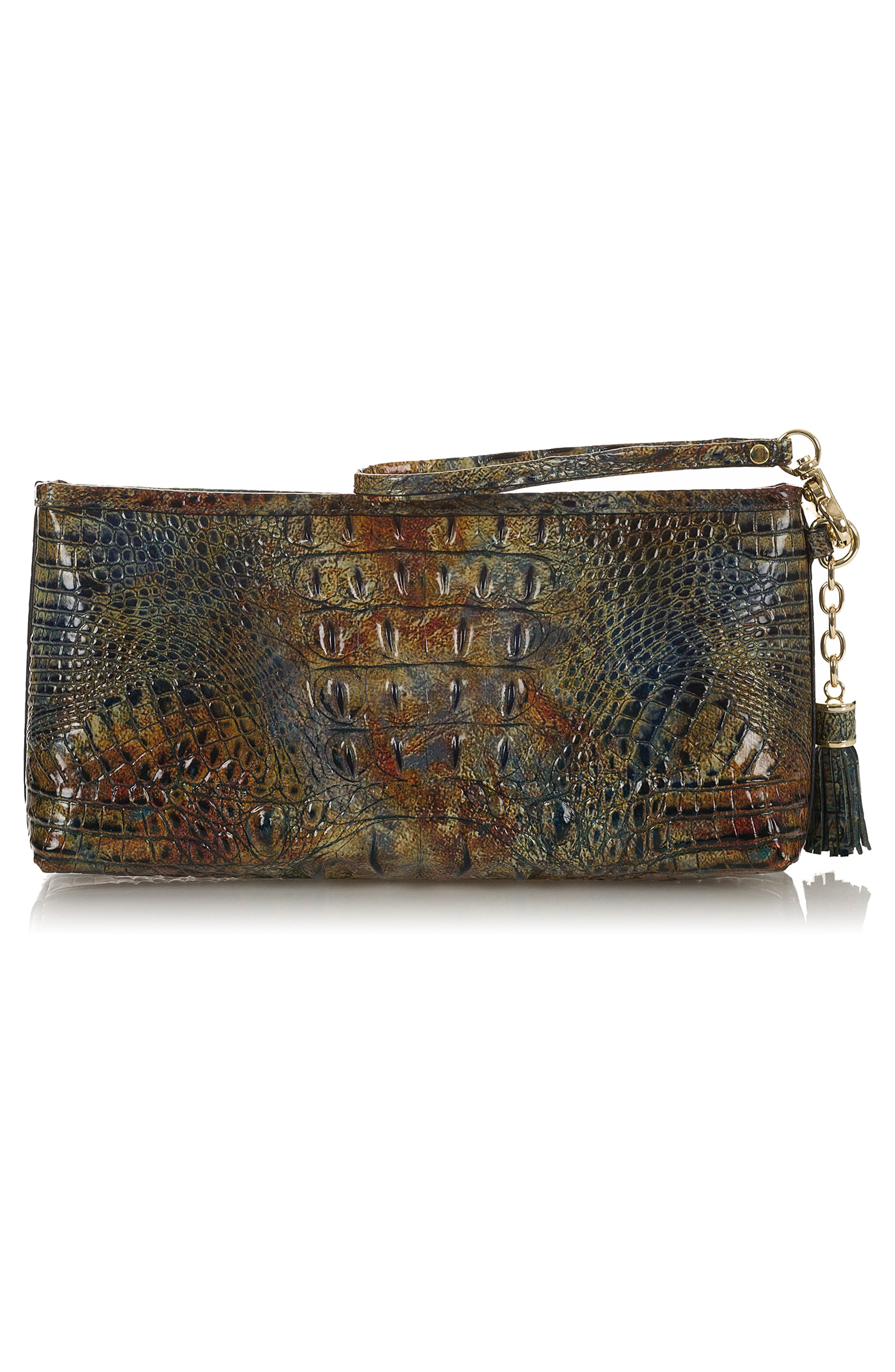 Kayla Embossed Leather Clutch,                             Alternate thumbnail 3, color,                             CEDAR
