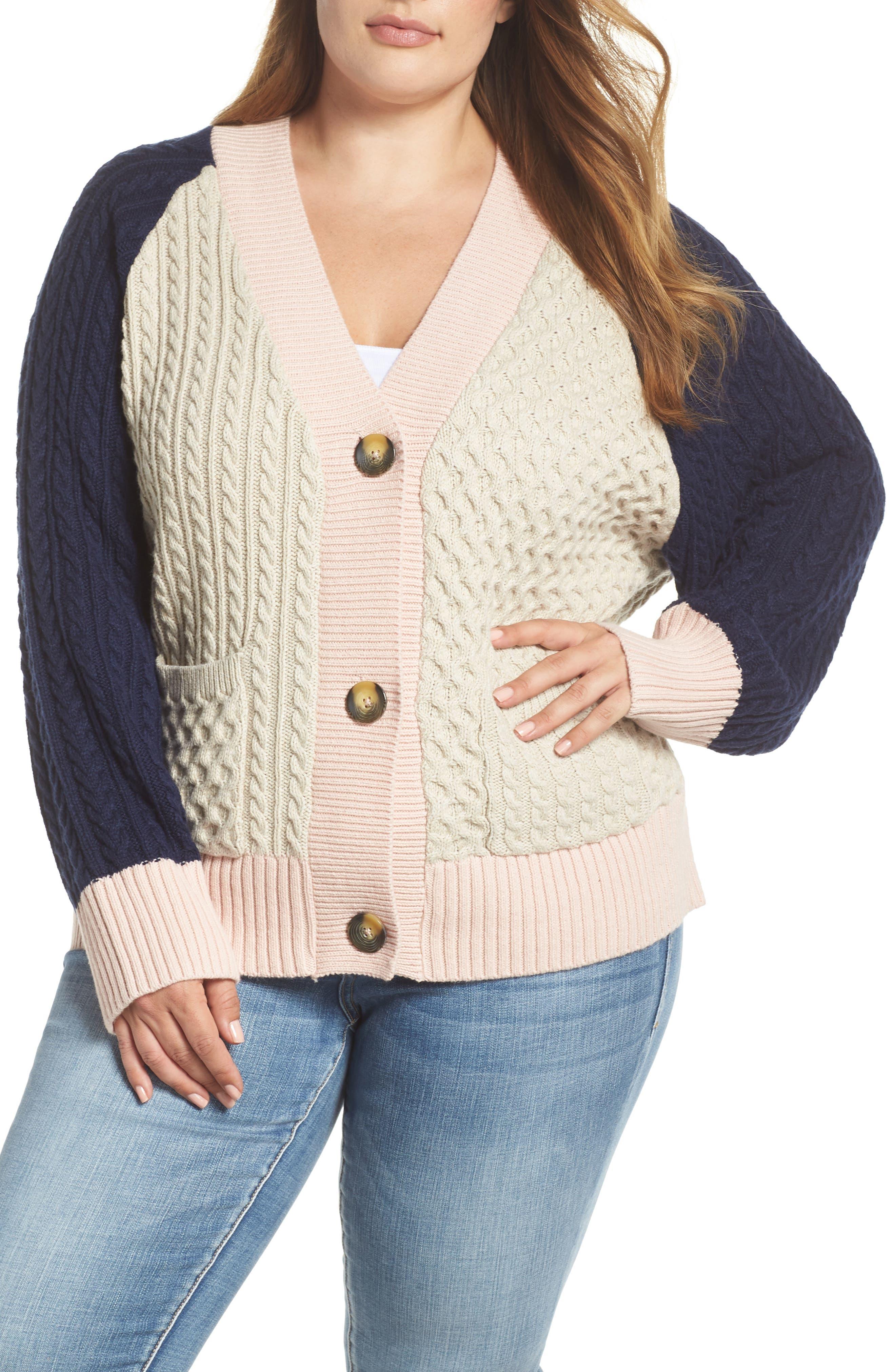 Colorblock Cable Knit Button Cardigan,                         Main,                         color, 900