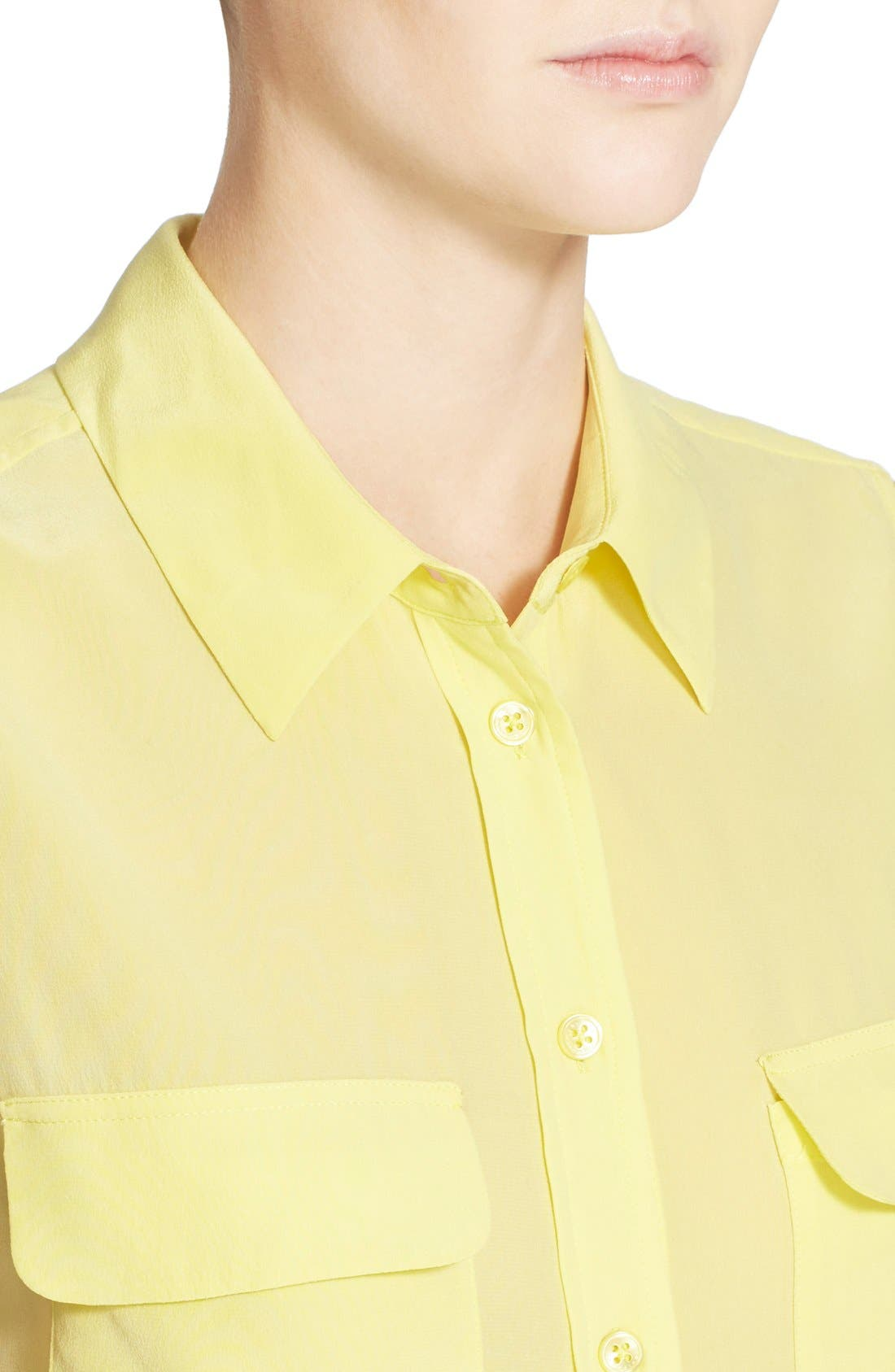 'Slim Signature' Sleeveless Silk Shirt,                             Alternate thumbnail 183, color,