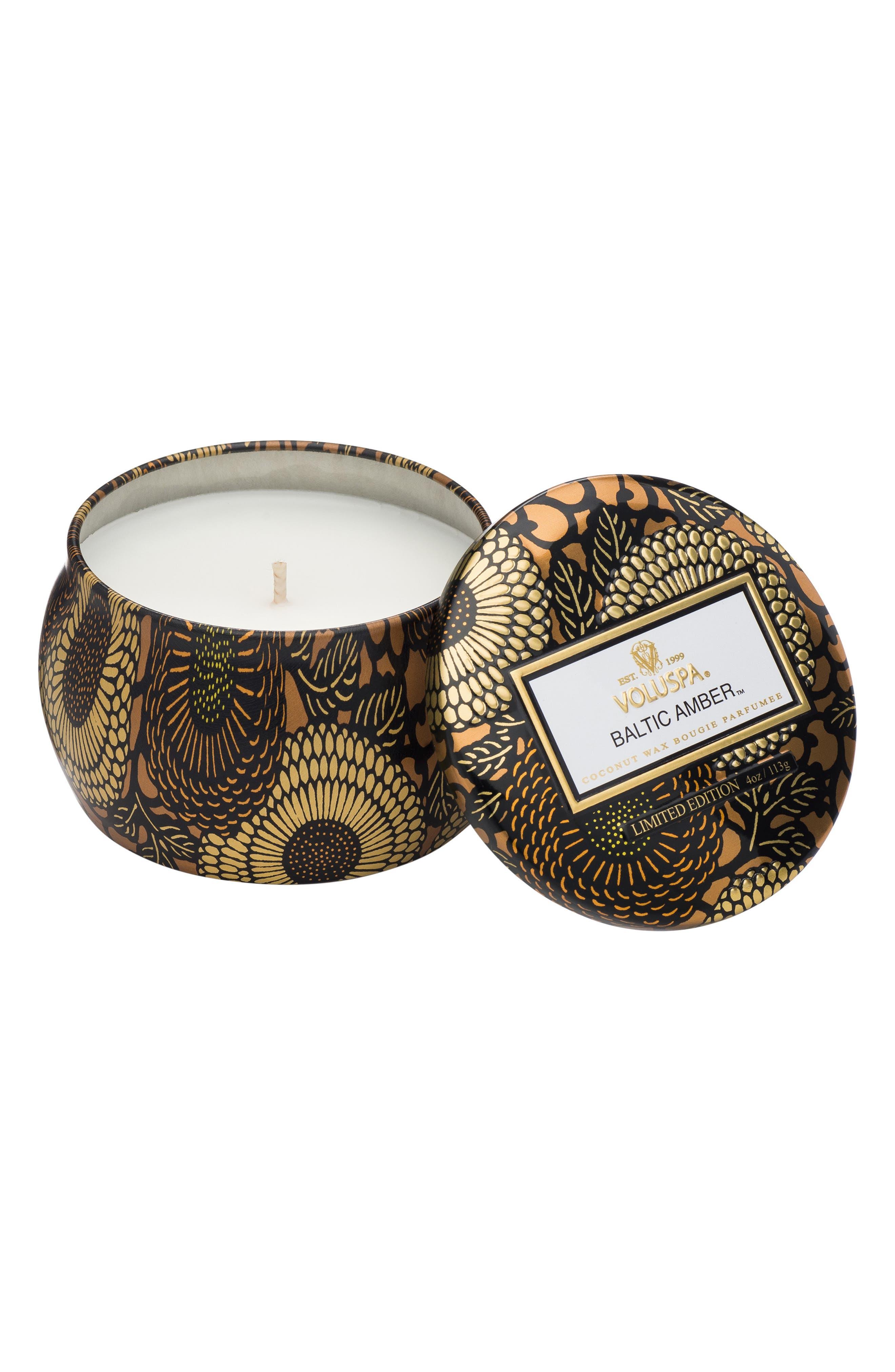 Japonica Baltic Amber Petite Decorative Tin Candle,                             Main thumbnail 1, color,                             NO COLOR