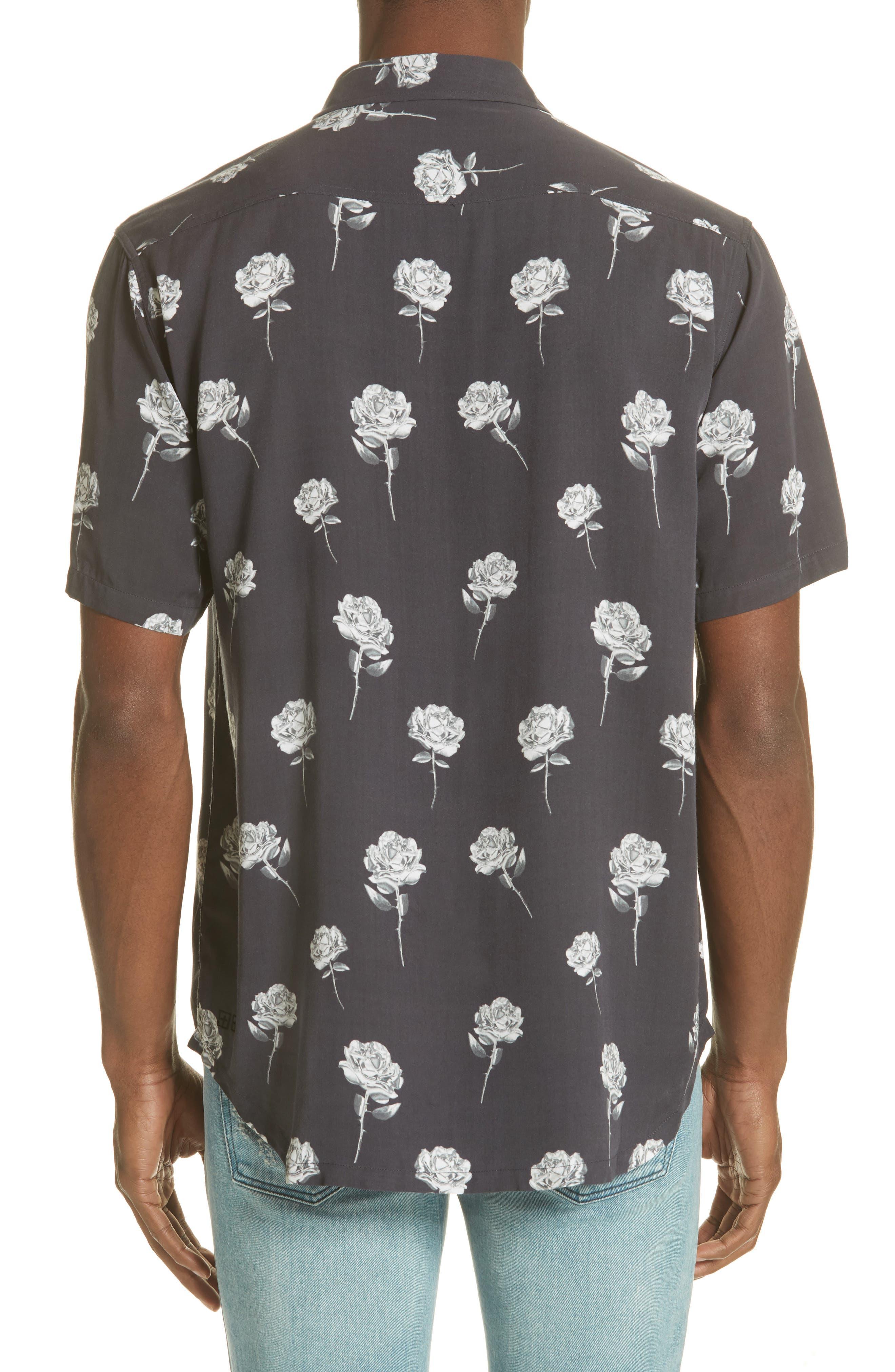 Chrome Rose Print Shirt,                             Alternate thumbnail 3, color,                             BROWN