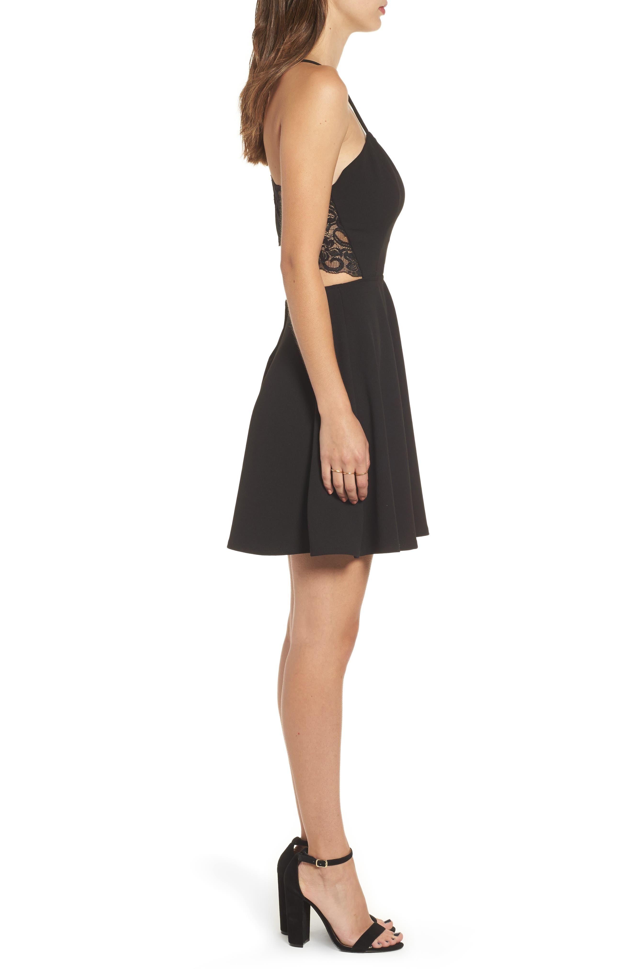 Lace Trim Skater Dress,                             Alternate thumbnail 3, color,                             002