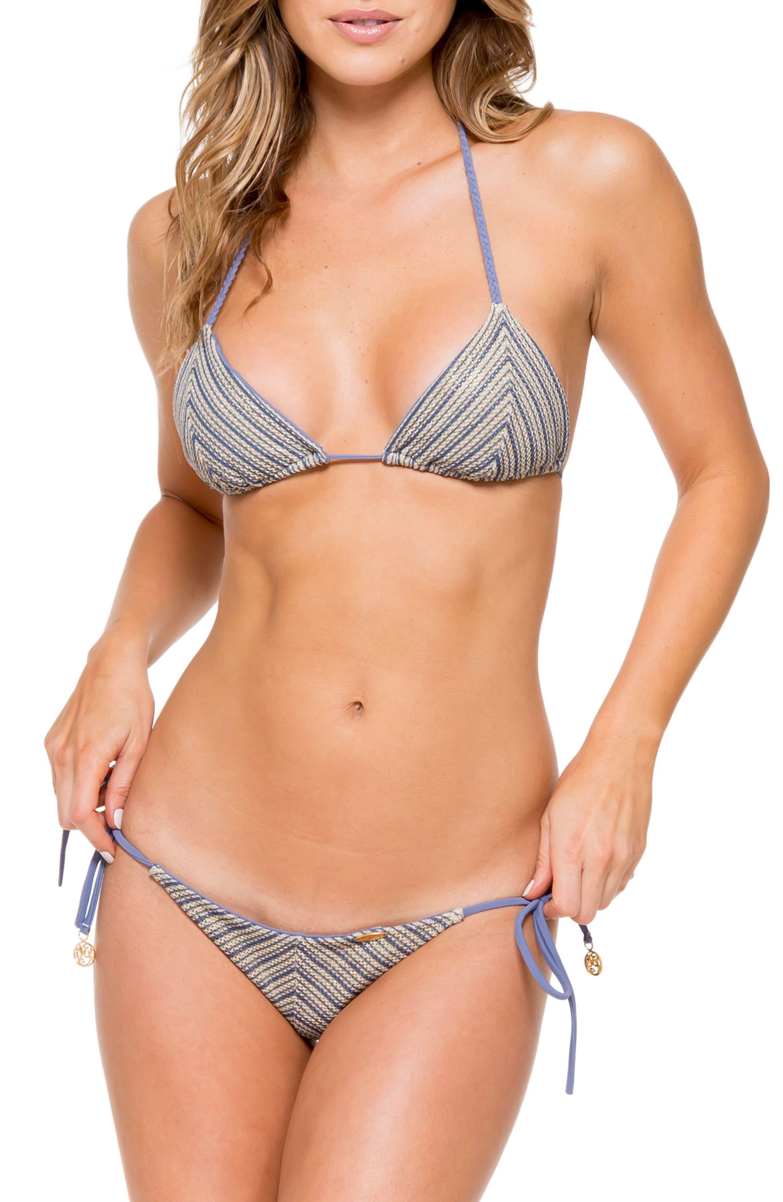 Crochet Triangle Bikini Top,                             Alternate thumbnail 4, color,                             460