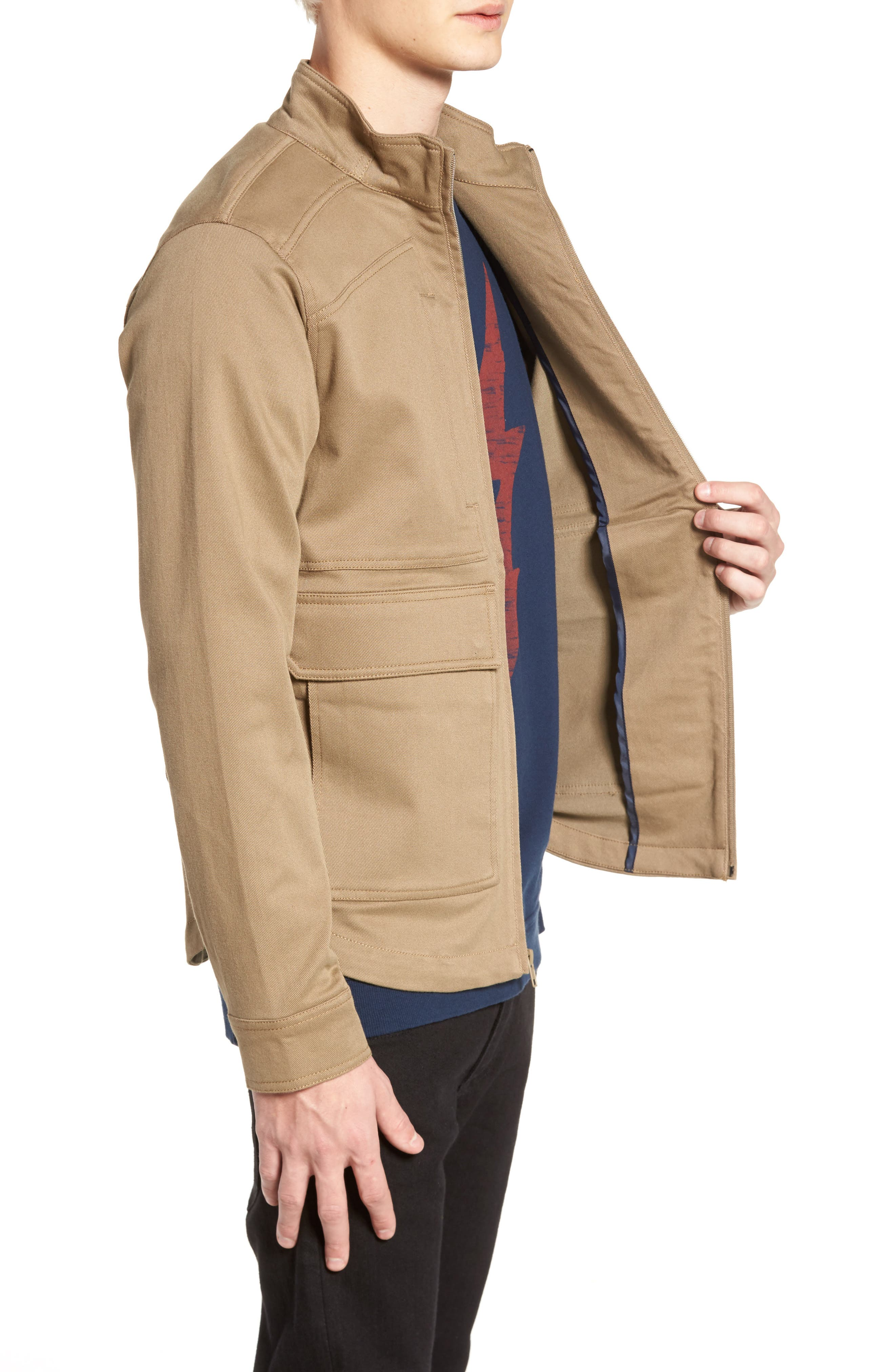 Brushed Twill Zip Jacket,                             Alternate thumbnail 3, color,