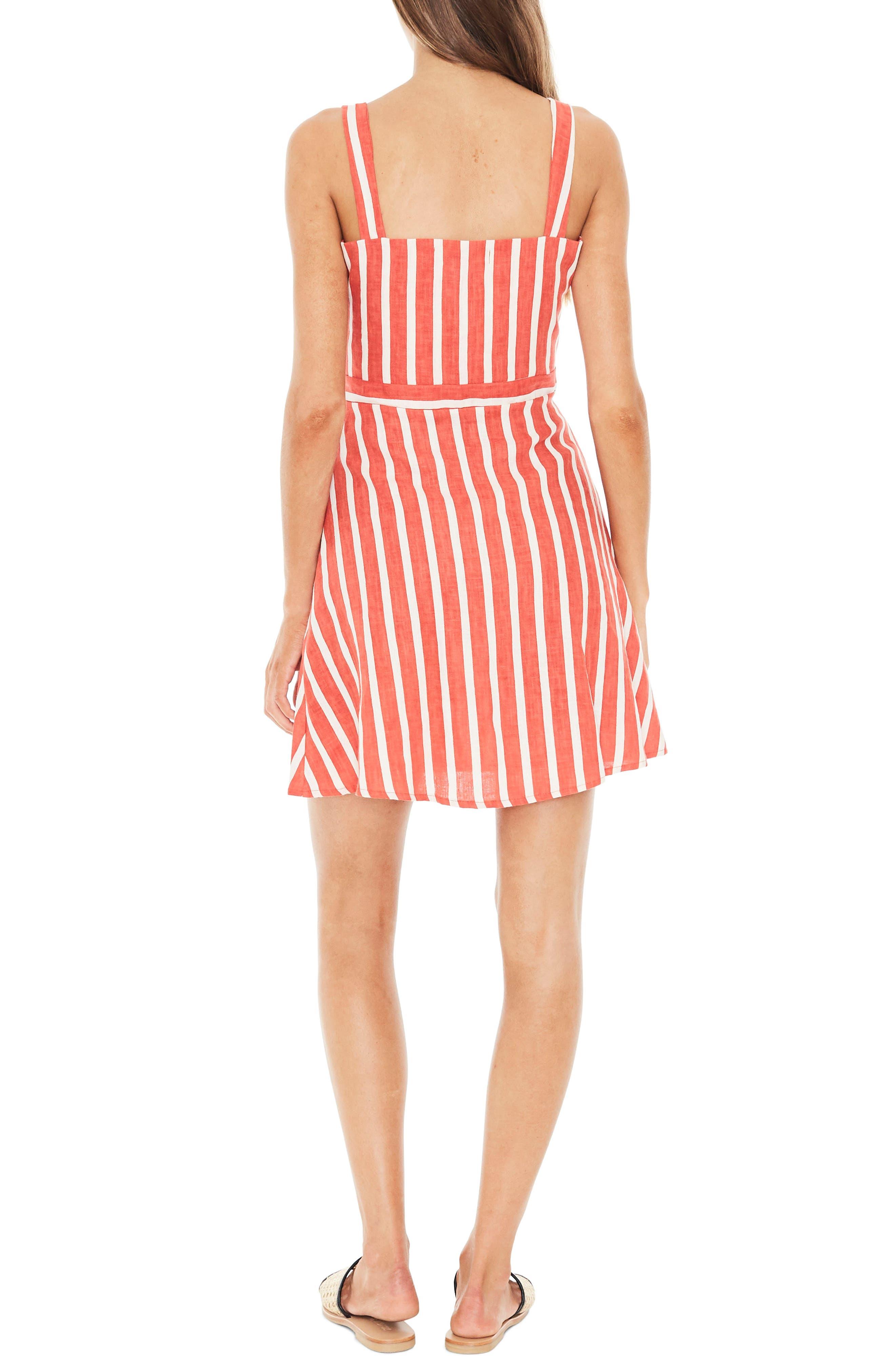 Le Petite Linen Dress,                             Alternate thumbnail 2, color,                             MAZUR STRIPE PRINT - TANGERINE