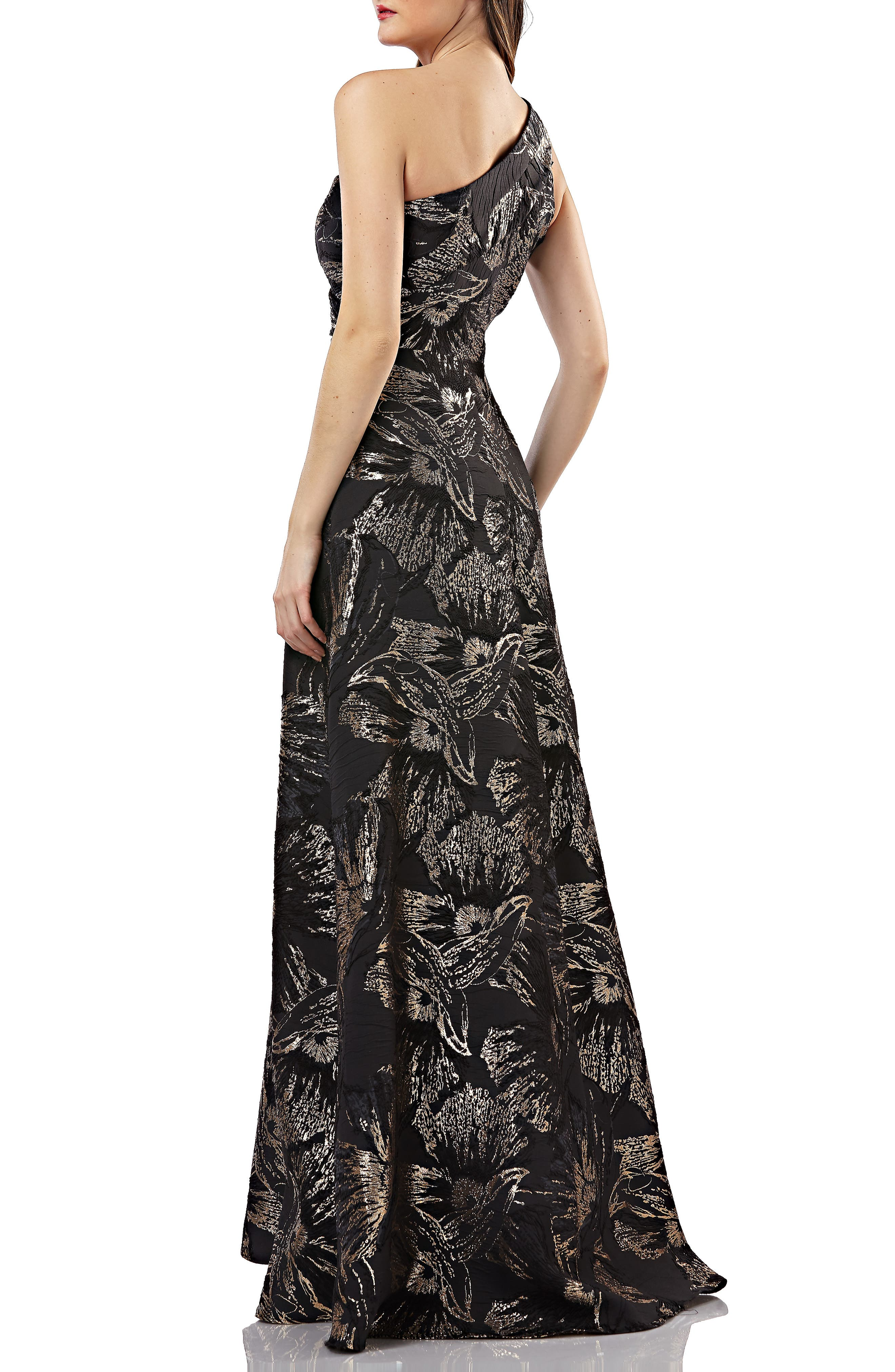 One-Shoulder Pleated Brocade Ballgown,                             Alternate thumbnail 2, color,                             BLACK/ GOLD