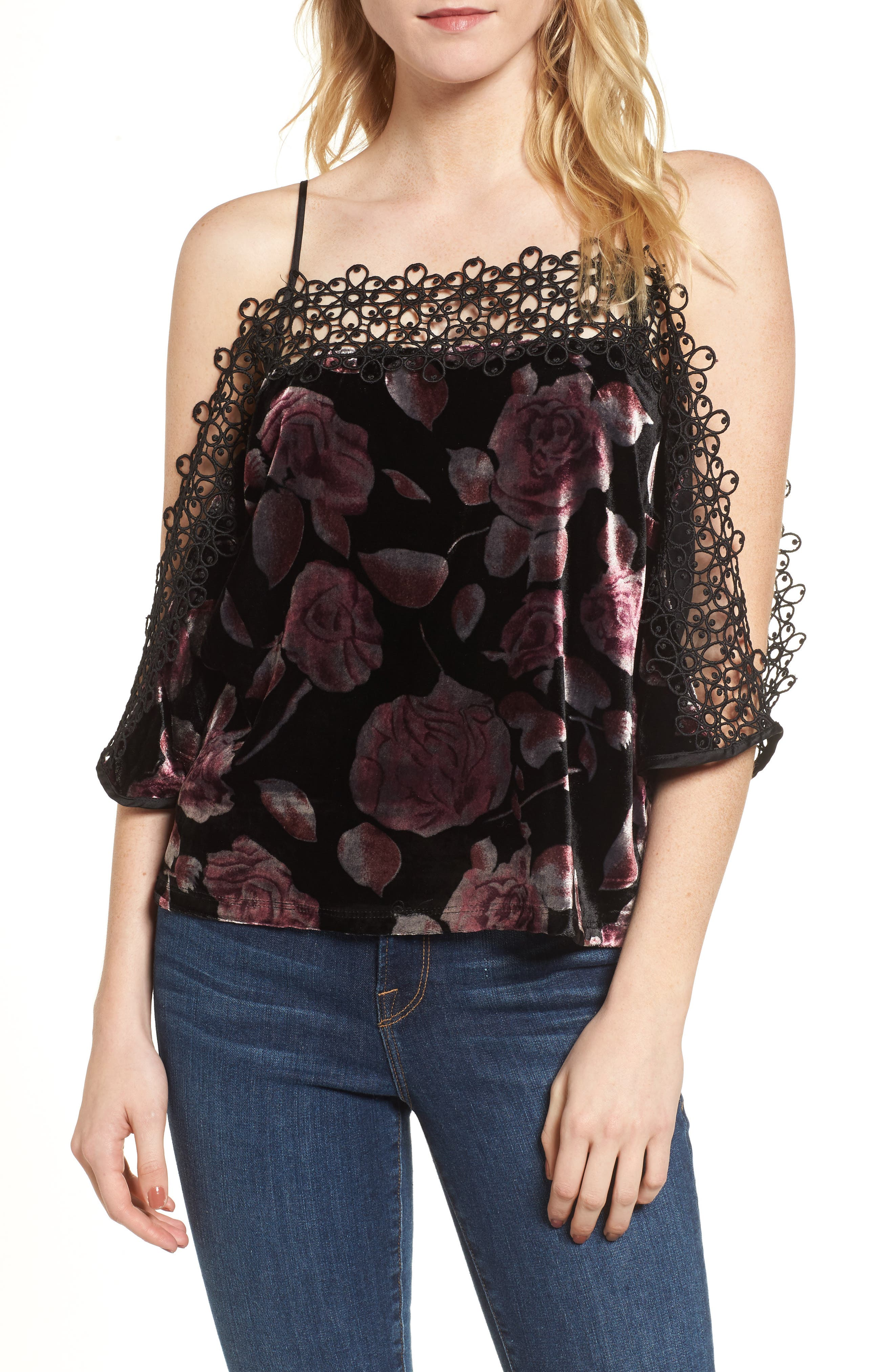 Velvet Cold Shoulder Top,                             Main thumbnail 1, color,