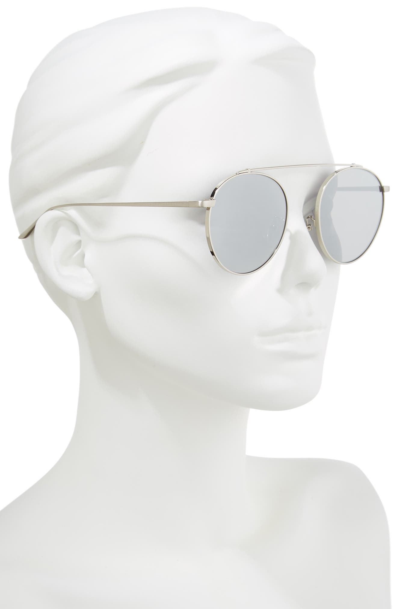 53mm Round Sunglasses,                             Alternate thumbnail 2, color,                             ROSE GOLD/PINK MIRROR
