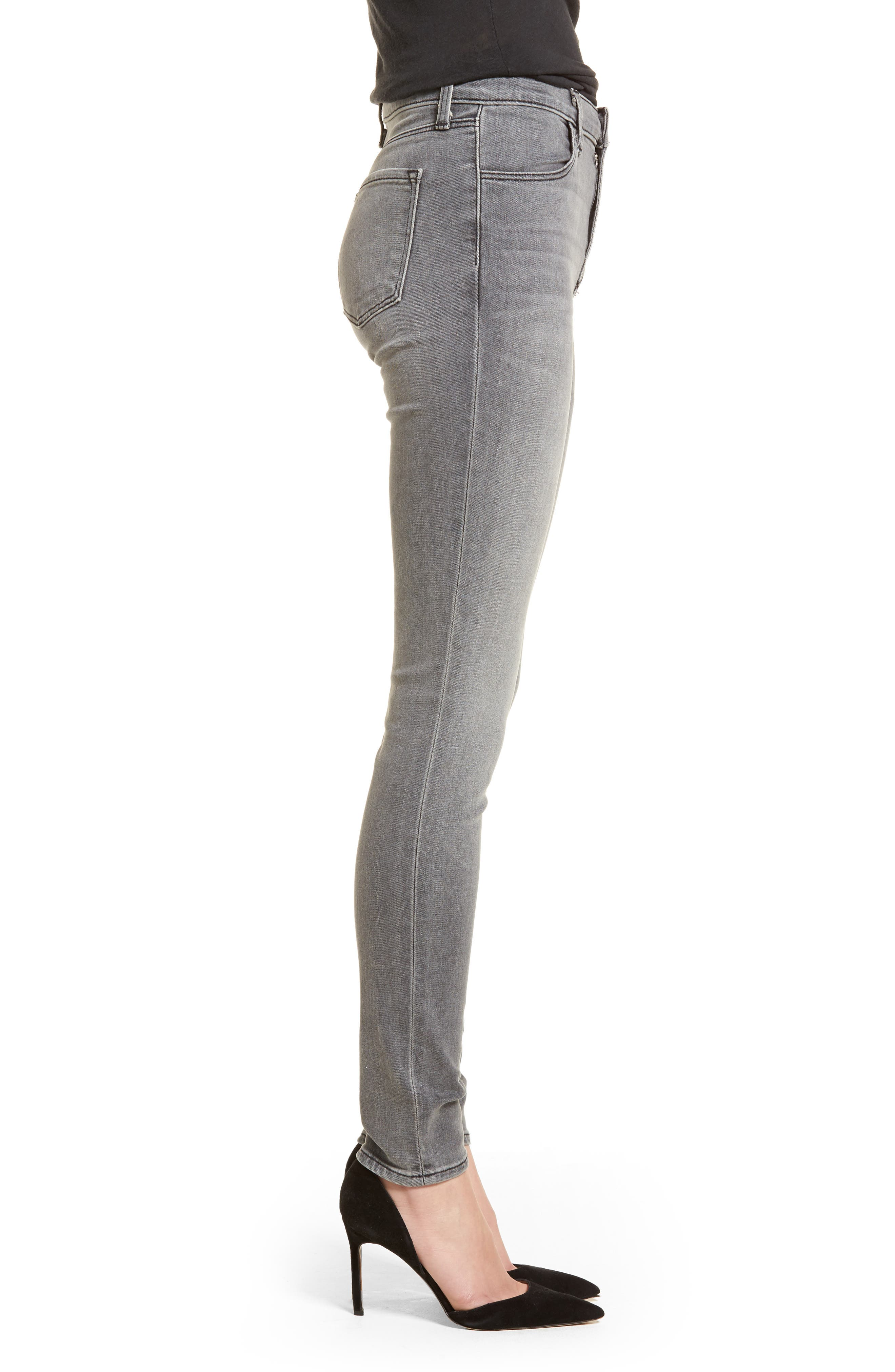 Maria High Waist Skinny Jeans,                             Alternate thumbnail 3, color,                             PEBBLE