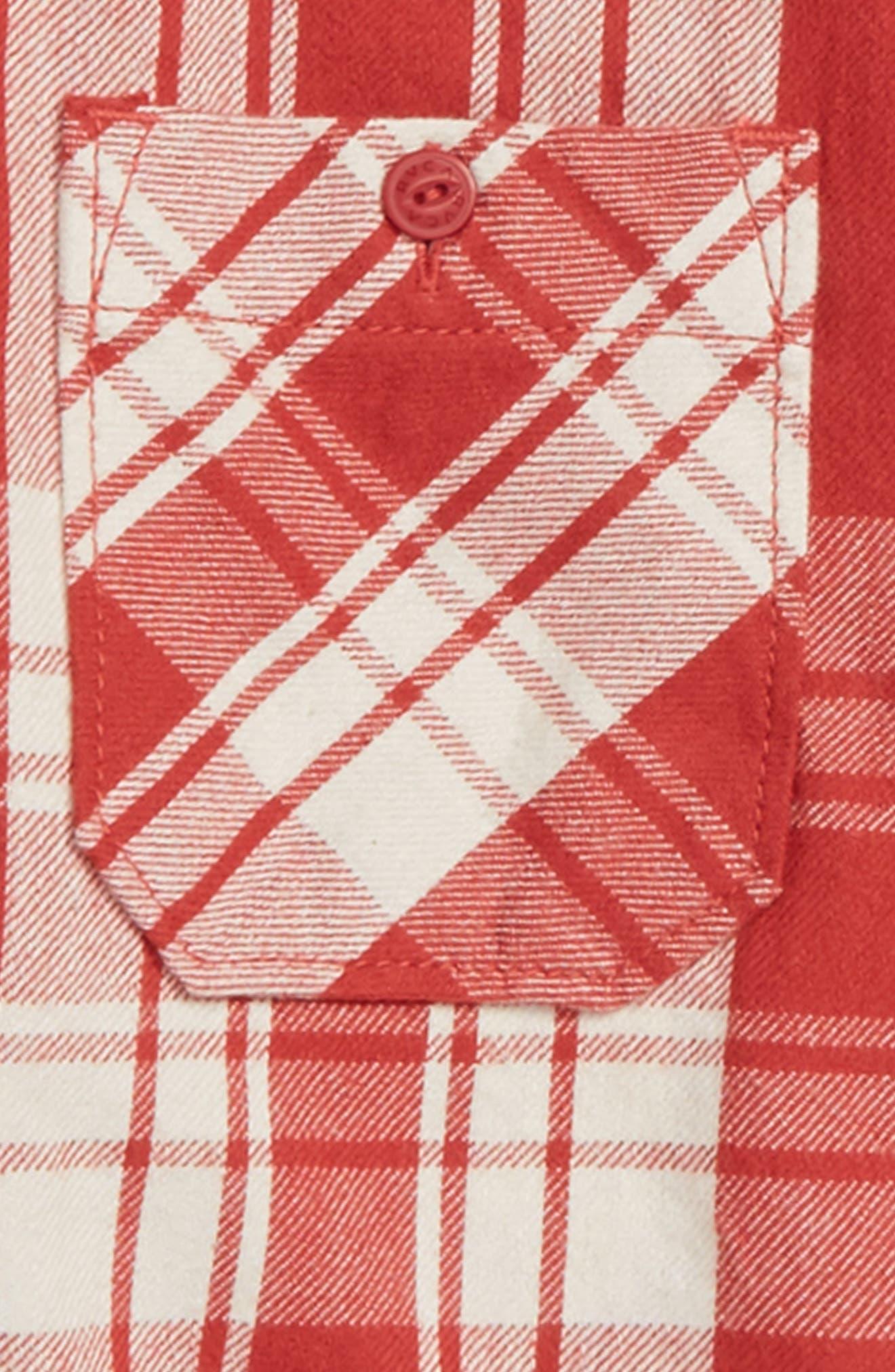 RVCA,                             Wanted Plaid Flannel Shirt,                             Alternate thumbnail 2, color,                             GARNET