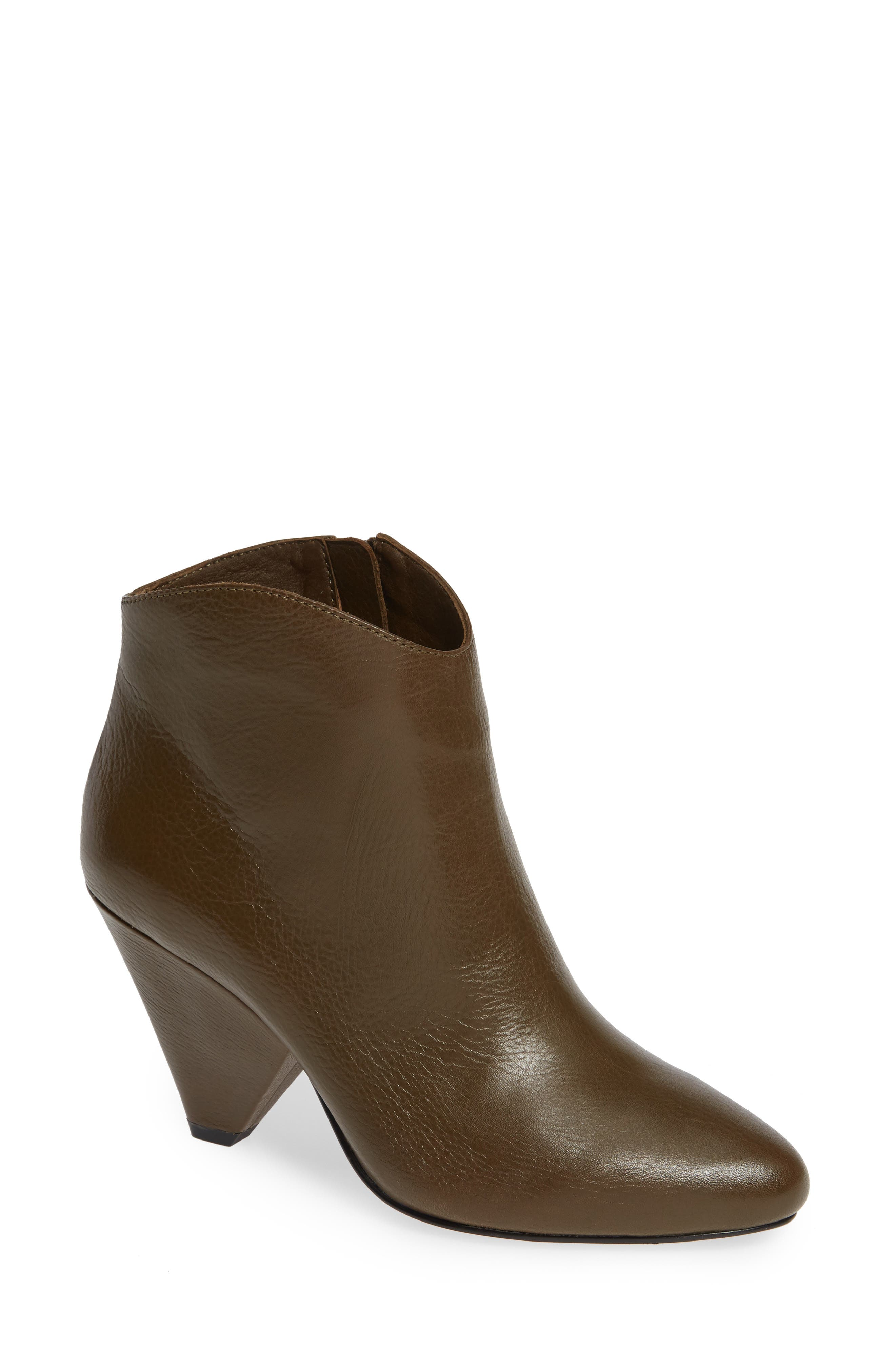 Women'S Isabel Pointed Toe Cone Heel Booties in Khaki Leather