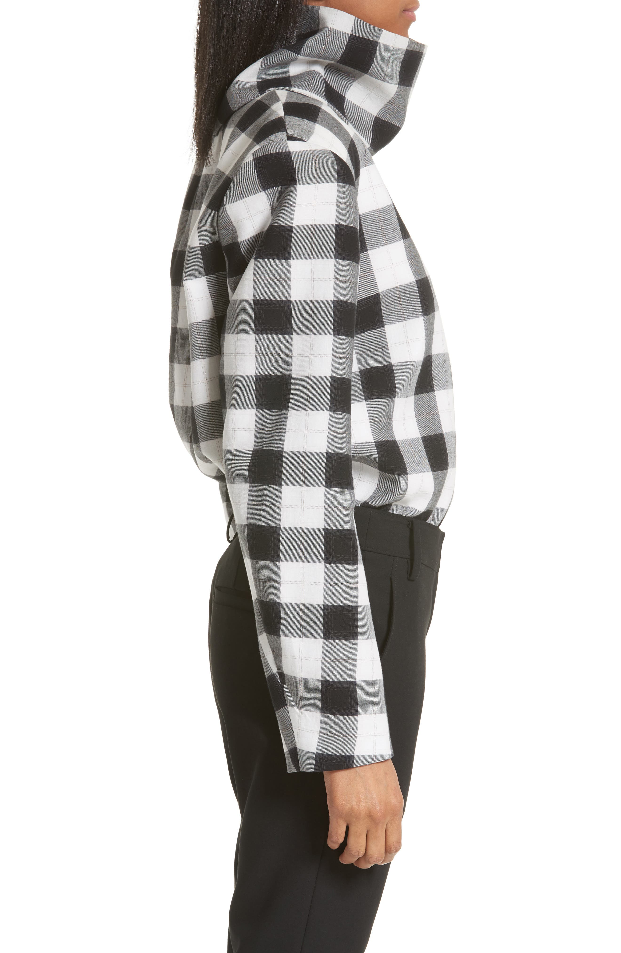 Tess Plaid Top with Detachable Collar,                             Alternate thumbnail 3, color,                             001