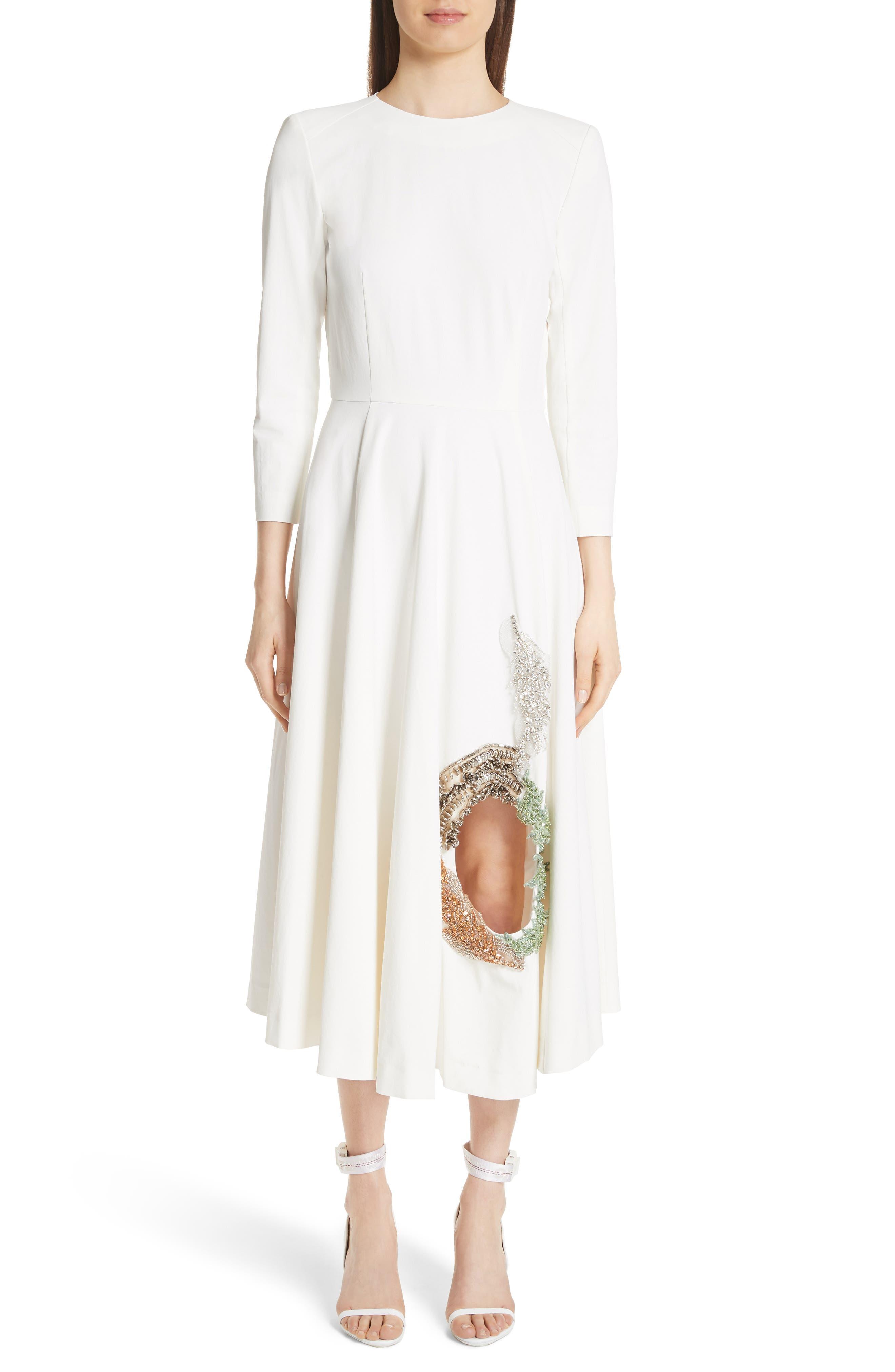 TOGA Beaded Keyhole Dress, Main, color, 100