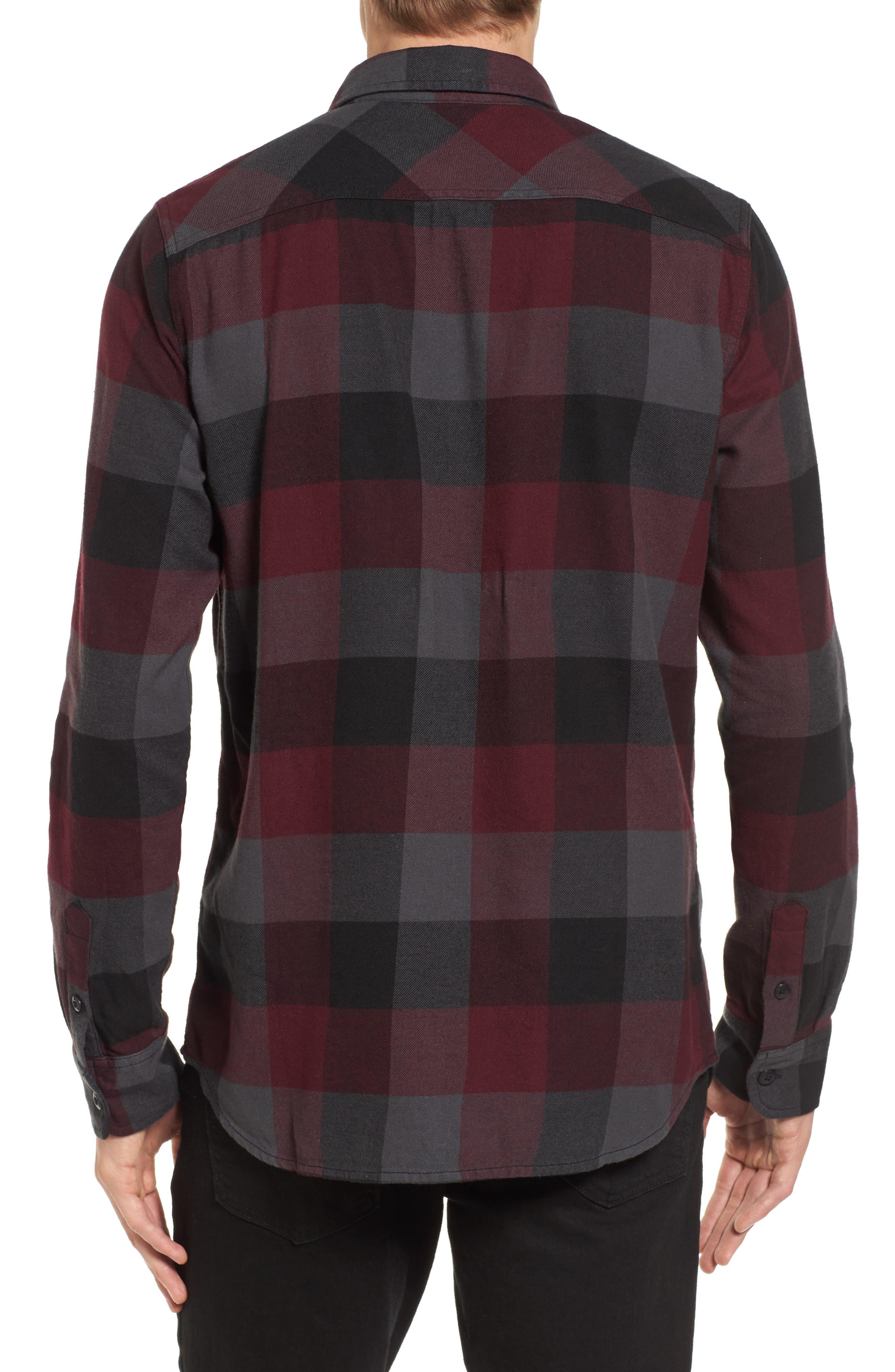 Trim Fit Check Flannel Woven Shirt,                             Alternate thumbnail 8, color,