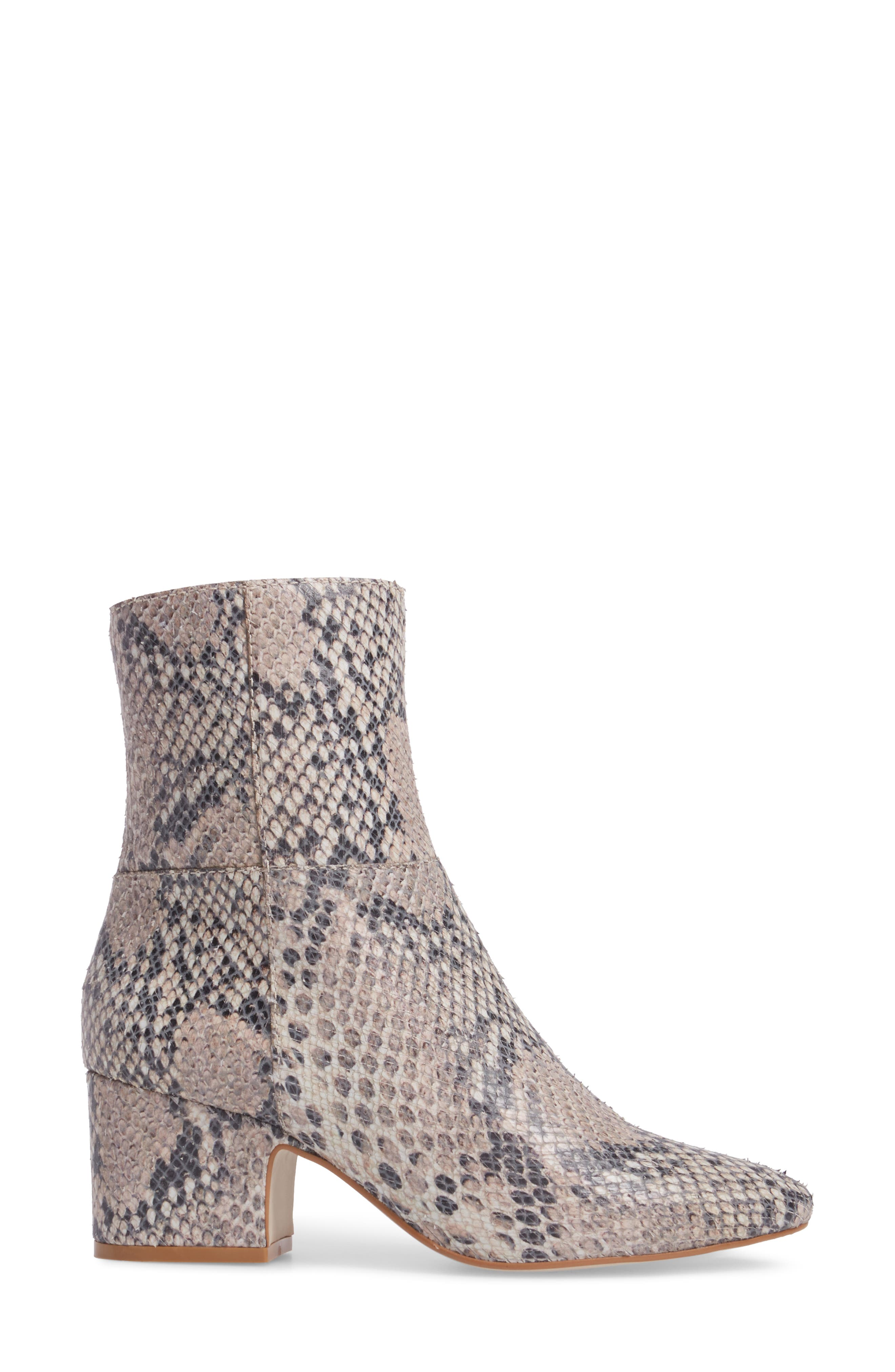 At Ease Genuine Calf Hair Bootie,                             Alternate thumbnail 3, color,                             NATURAL SNAKE LEATHER