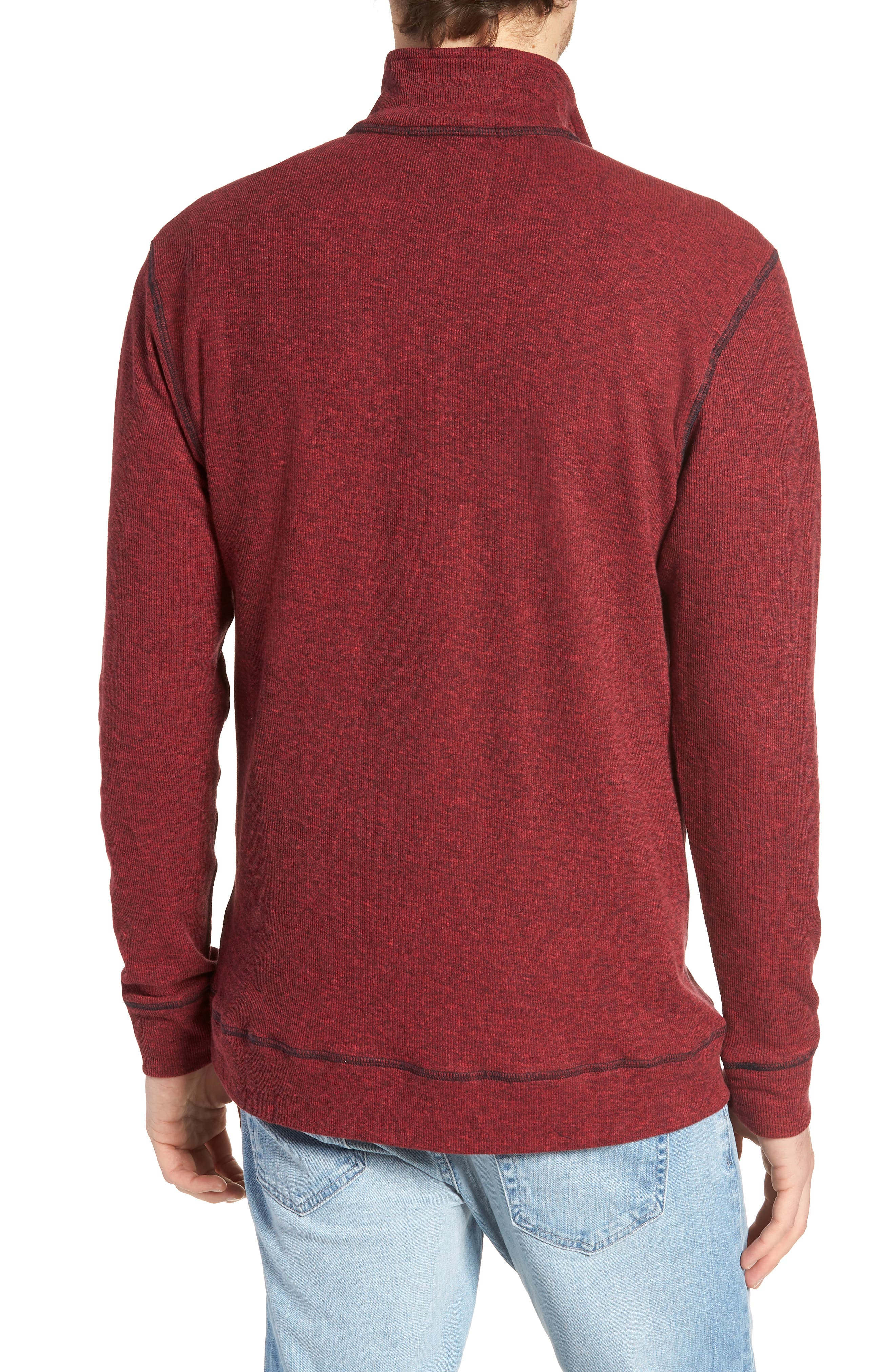 Regular Fit Ribbed Quarter Zip Shirt,                             Alternate thumbnail 2, color,                             MOLTEN LAVA