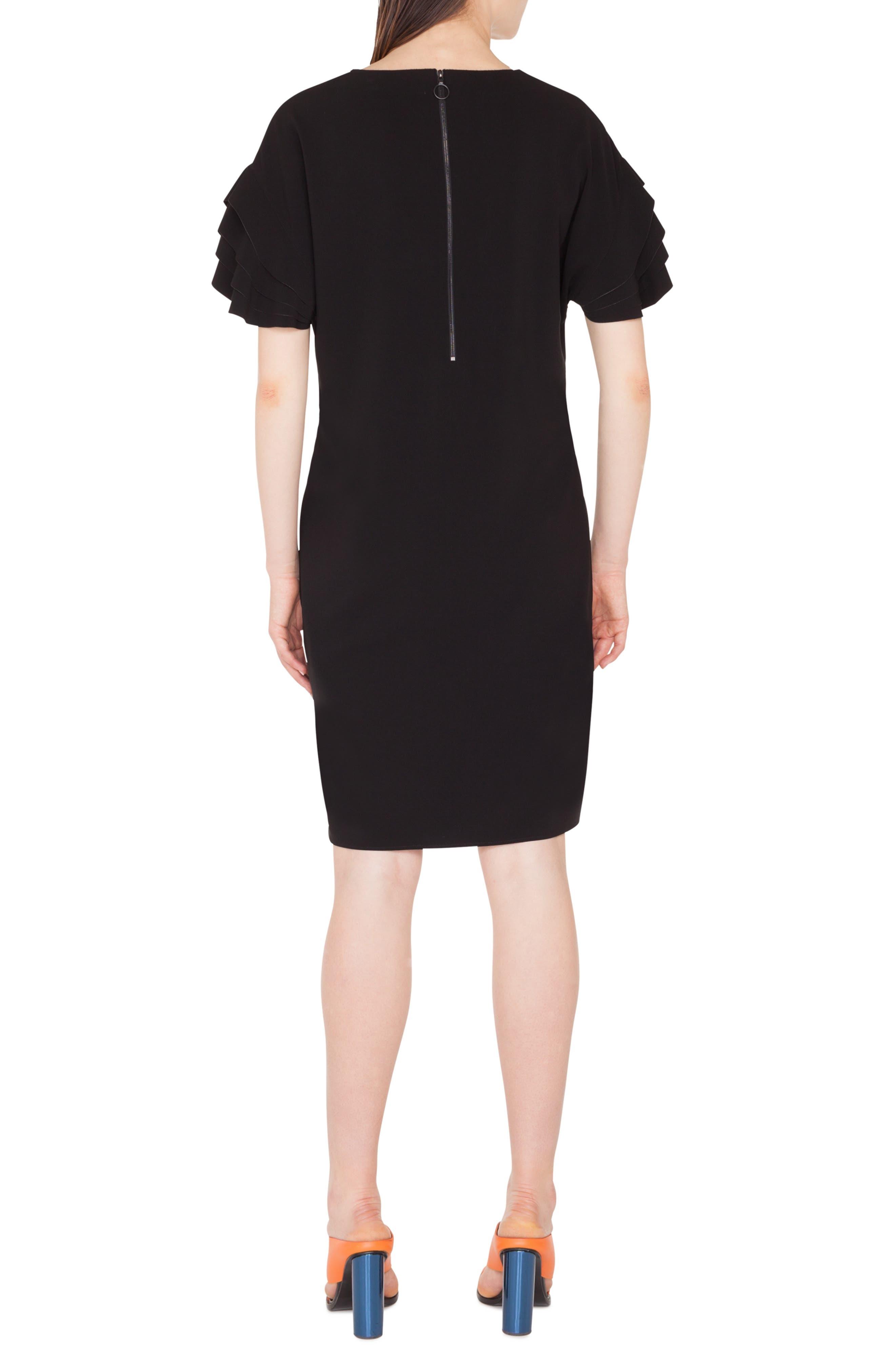 AKRIS PUNTO,                             Layered Sleeve Dress,                             Alternate thumbnail 2, color,                             NERO
