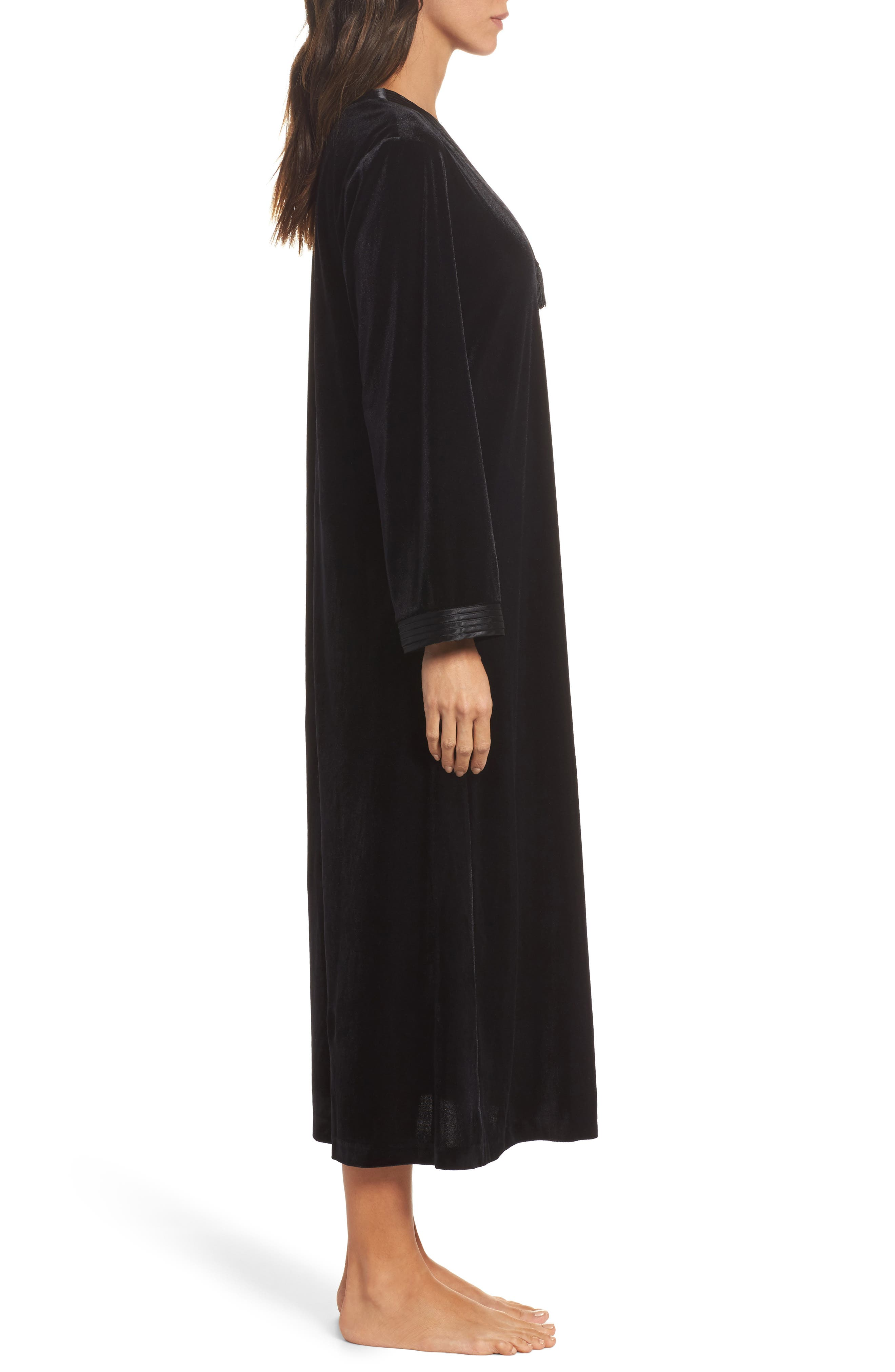 Sleepwear Velvet Caftan,                             Alternate thumbnail 3, color,                             001