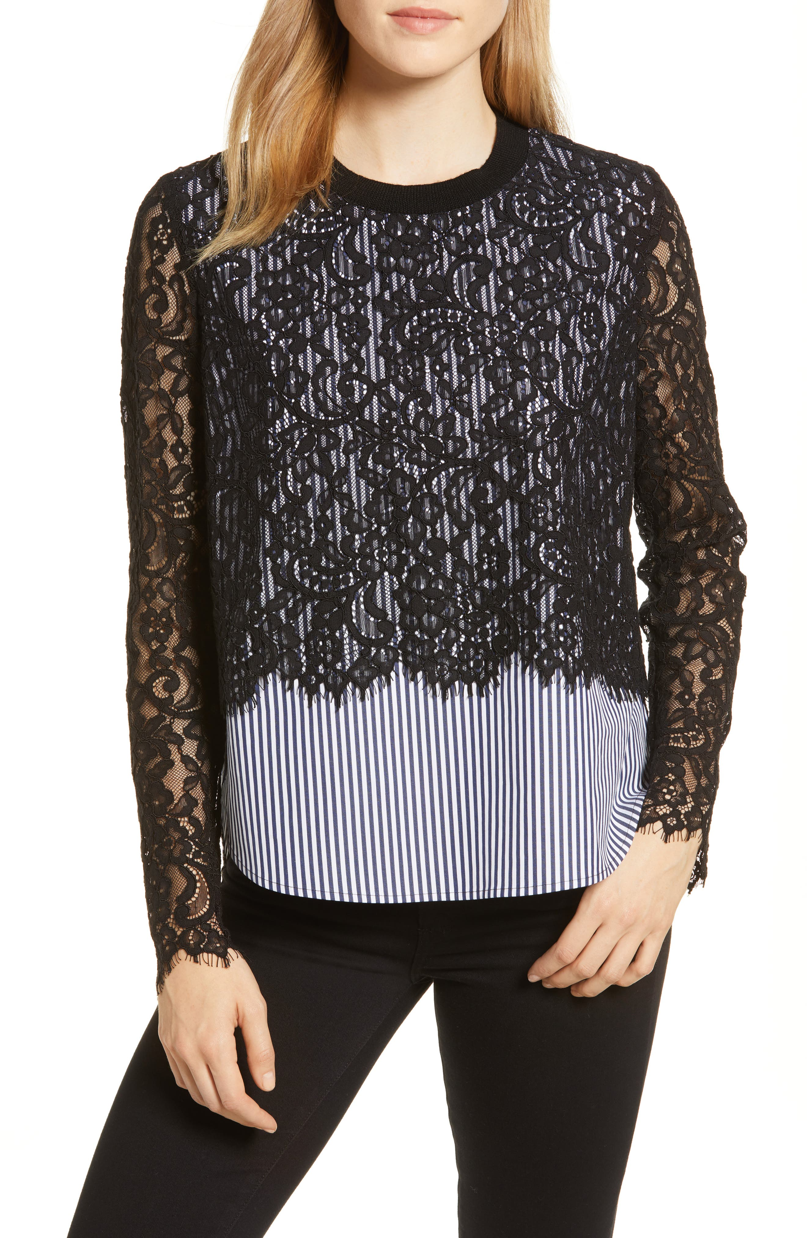 Solstice Stripe Lace Blouse,                         Main,                         color, JET BLACK