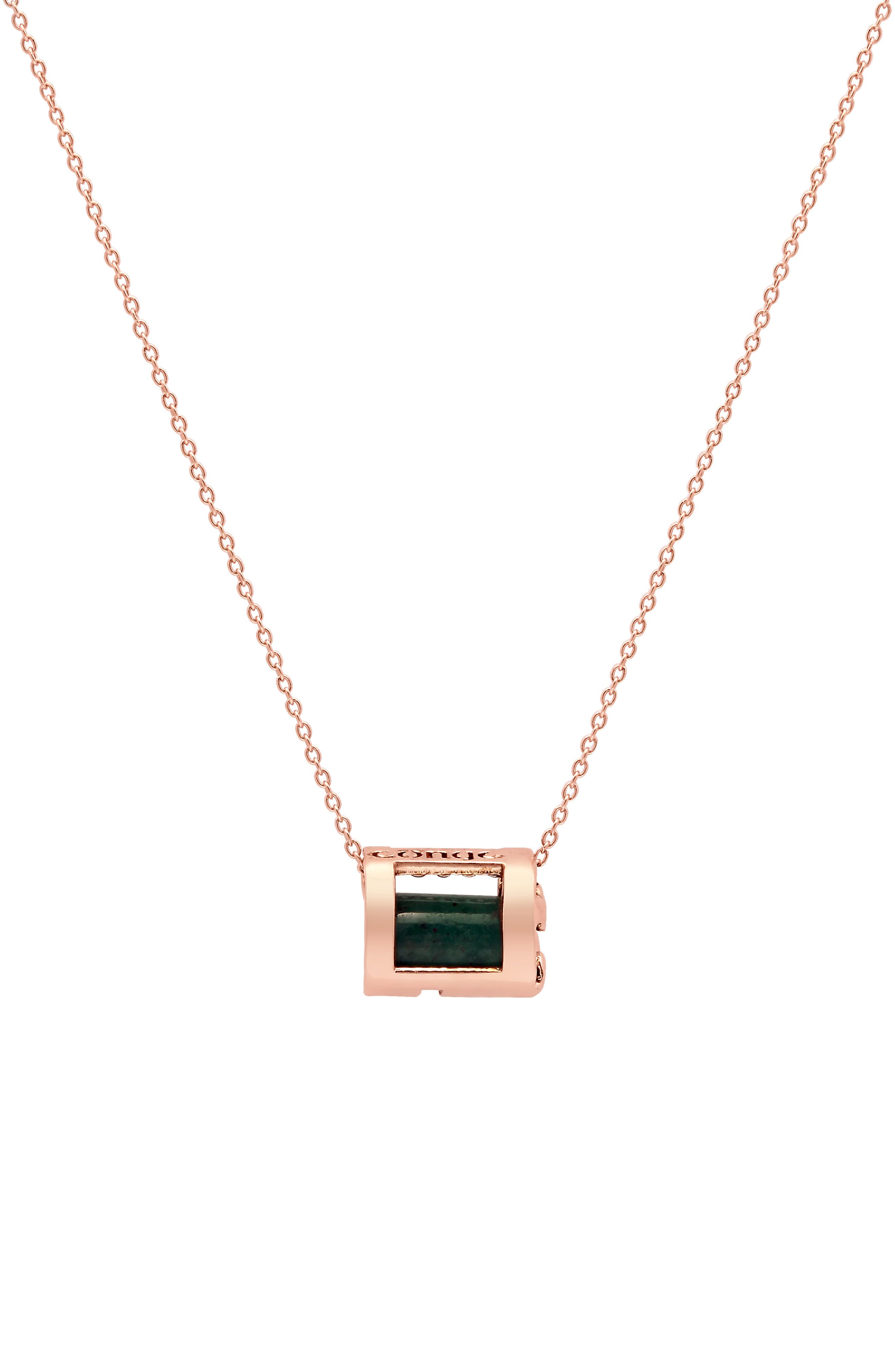 Optimism & Luck Aventurine Initial Barrel Initial Necklace,                             Main thumbnail 1, color,                             ROSE GOLD-A