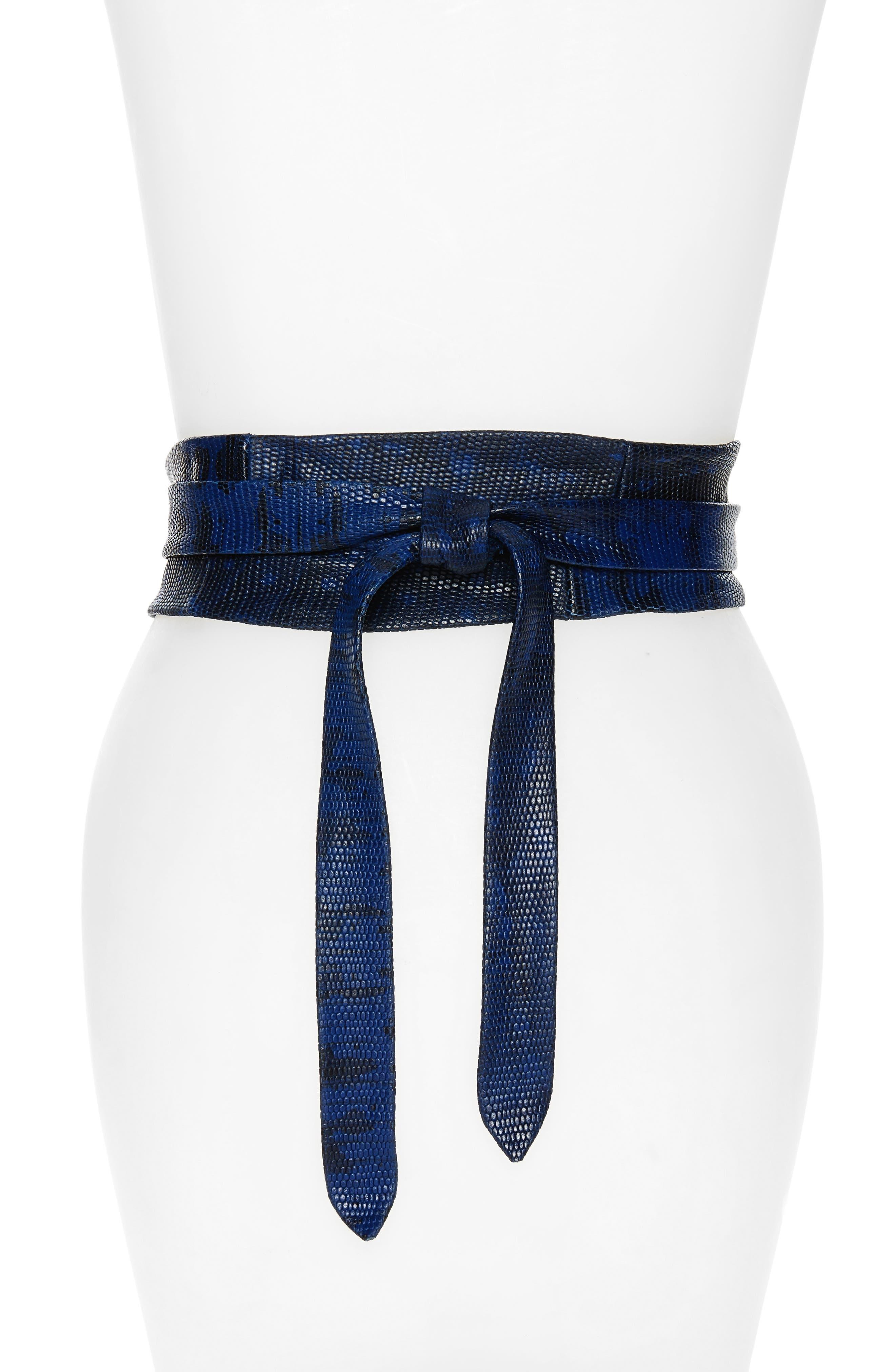 Python Embossed Calfskin Leather Wrap Belt,                             Alternate thumbnail 9, color,