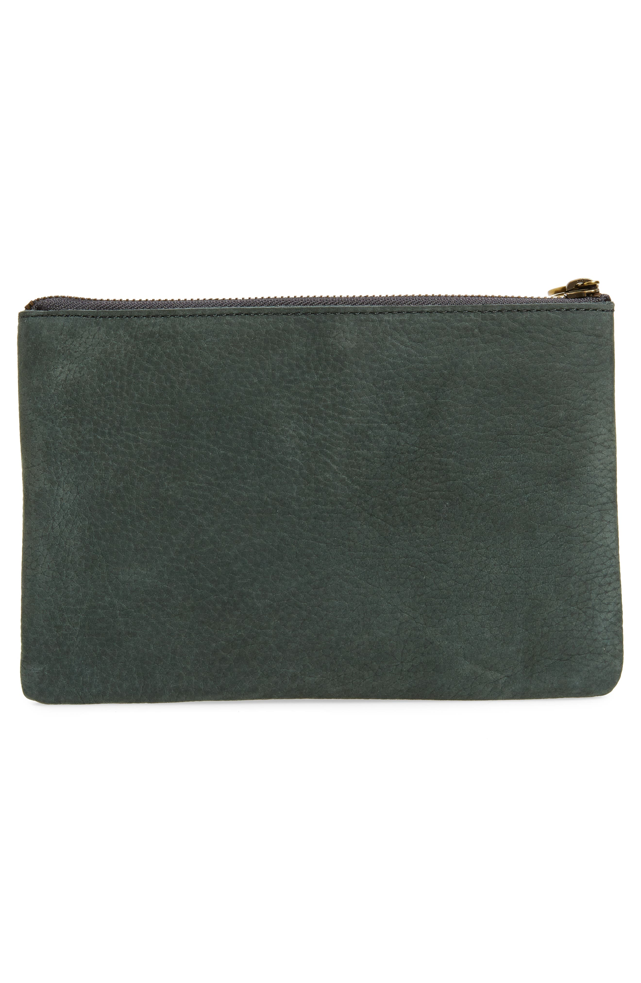 The Leather Pouch Clutch,                             Alternate thumbnail 3, color,                             HEATHER CYPRESS