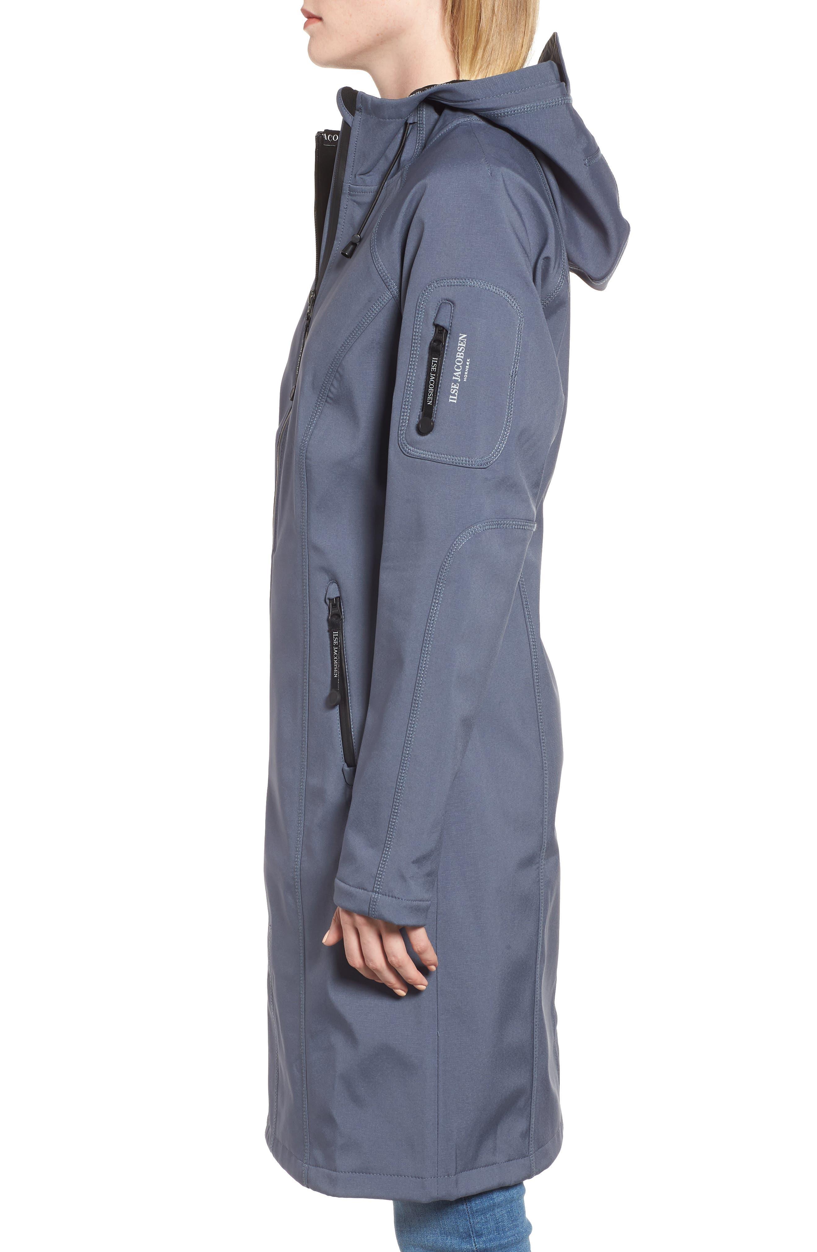 Long Hooded Raincoat,                             Alternate thumbnail 3, color,                             BLUE GRAYNESS