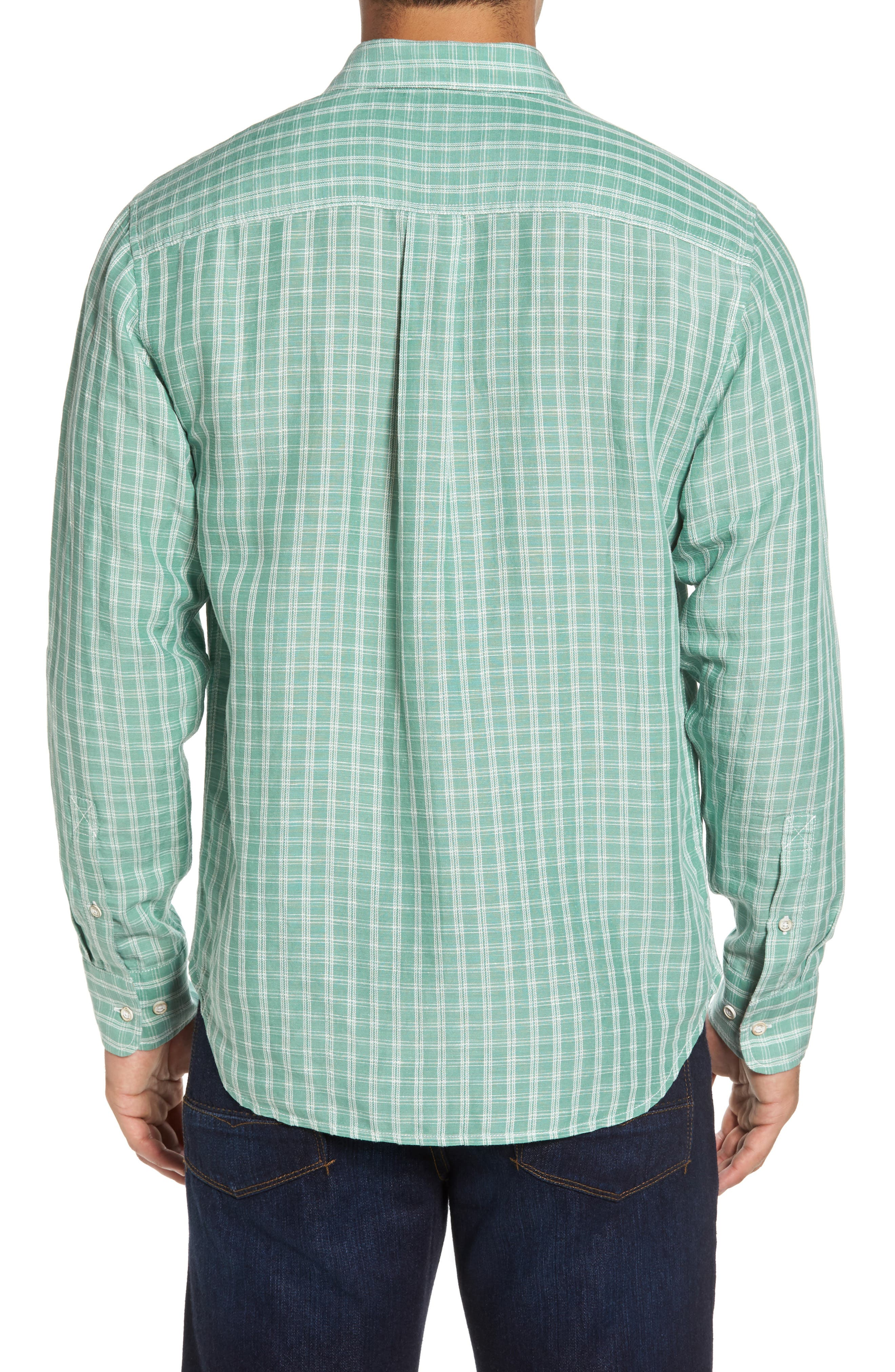 Plaid Sand Linen Blend Sport Shirt,                             Alternate thumbnail 4, color,