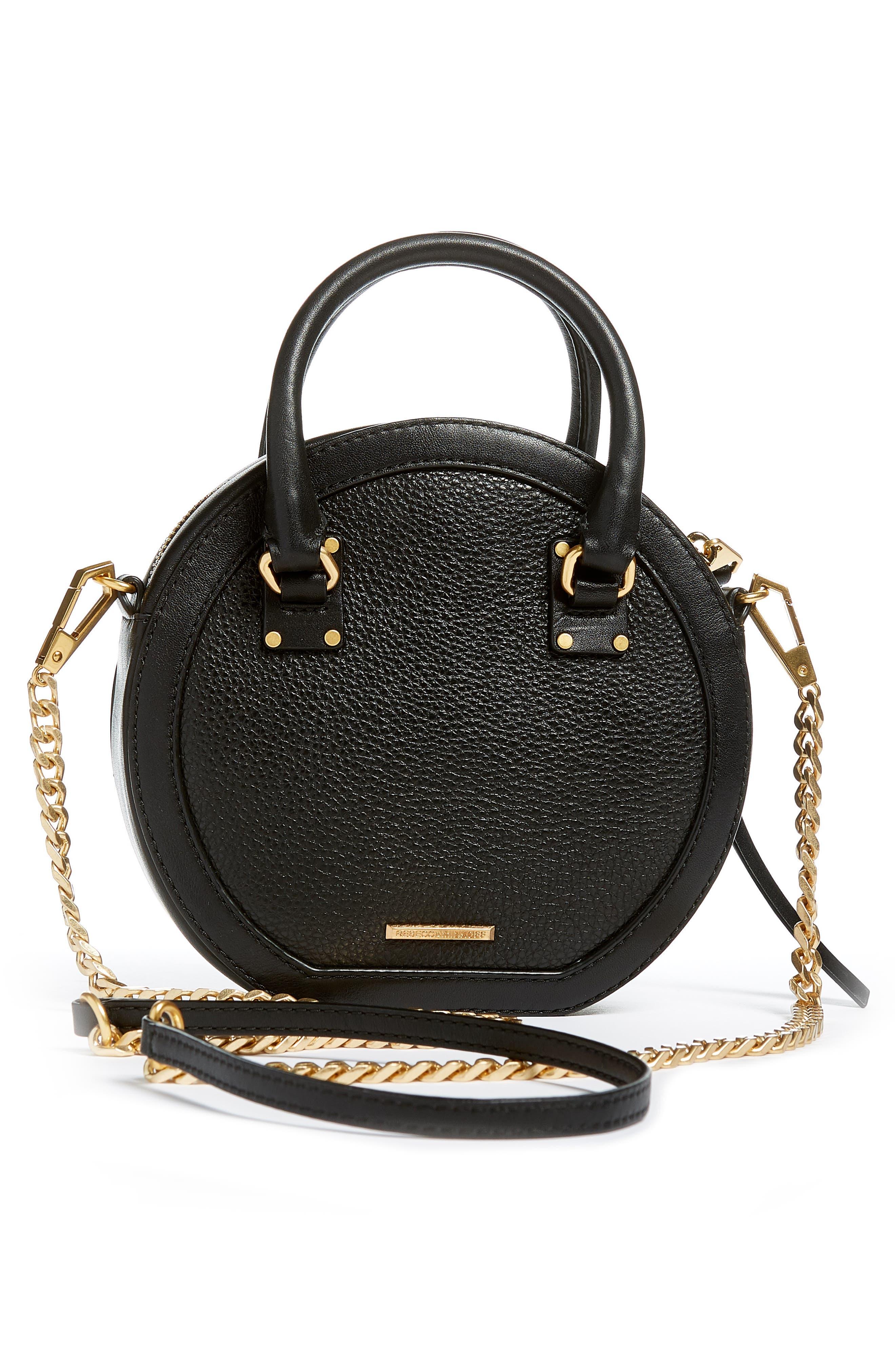 Bree Circle Leather Crossbody Bag,                             Alternate thumbnail 3, color,                             001