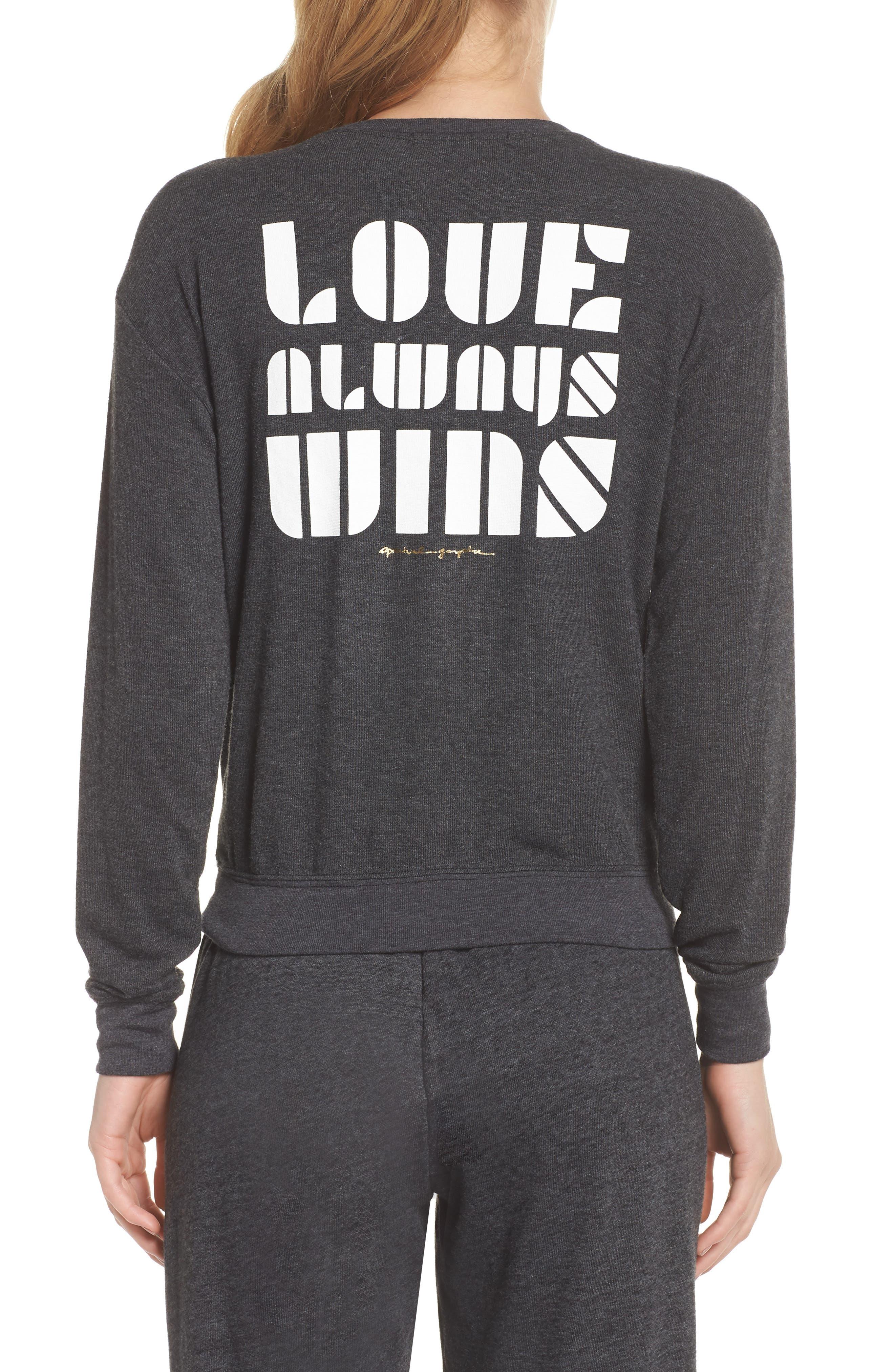 Love Wins Savasana Sweatshirt,                             Alternate thumbnail 2, color,                             VINTAGE BLACK