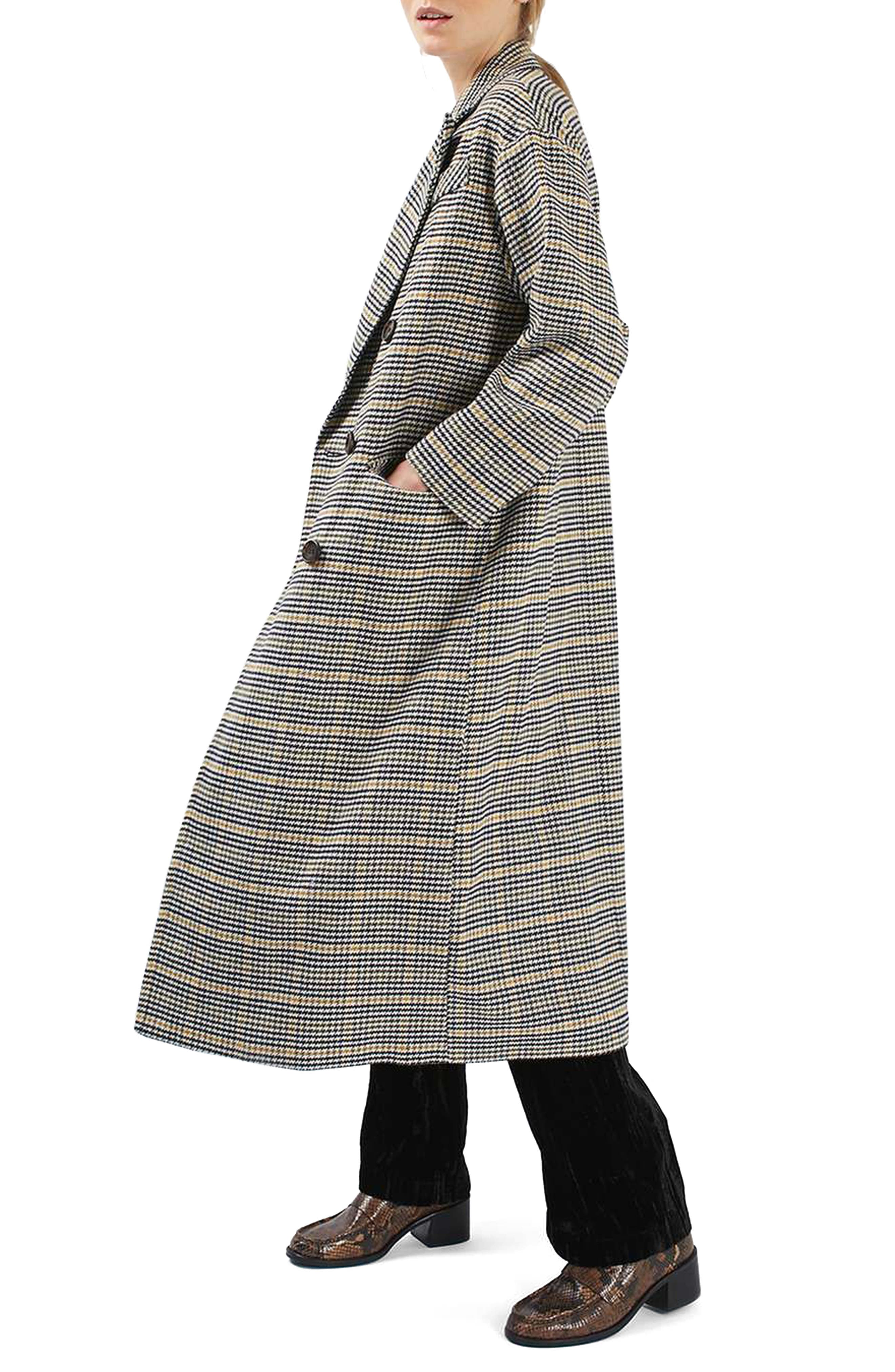 TOPSHOP,                             Heritage Check Coat,                             Alternate thumbnail 3, color,                             001