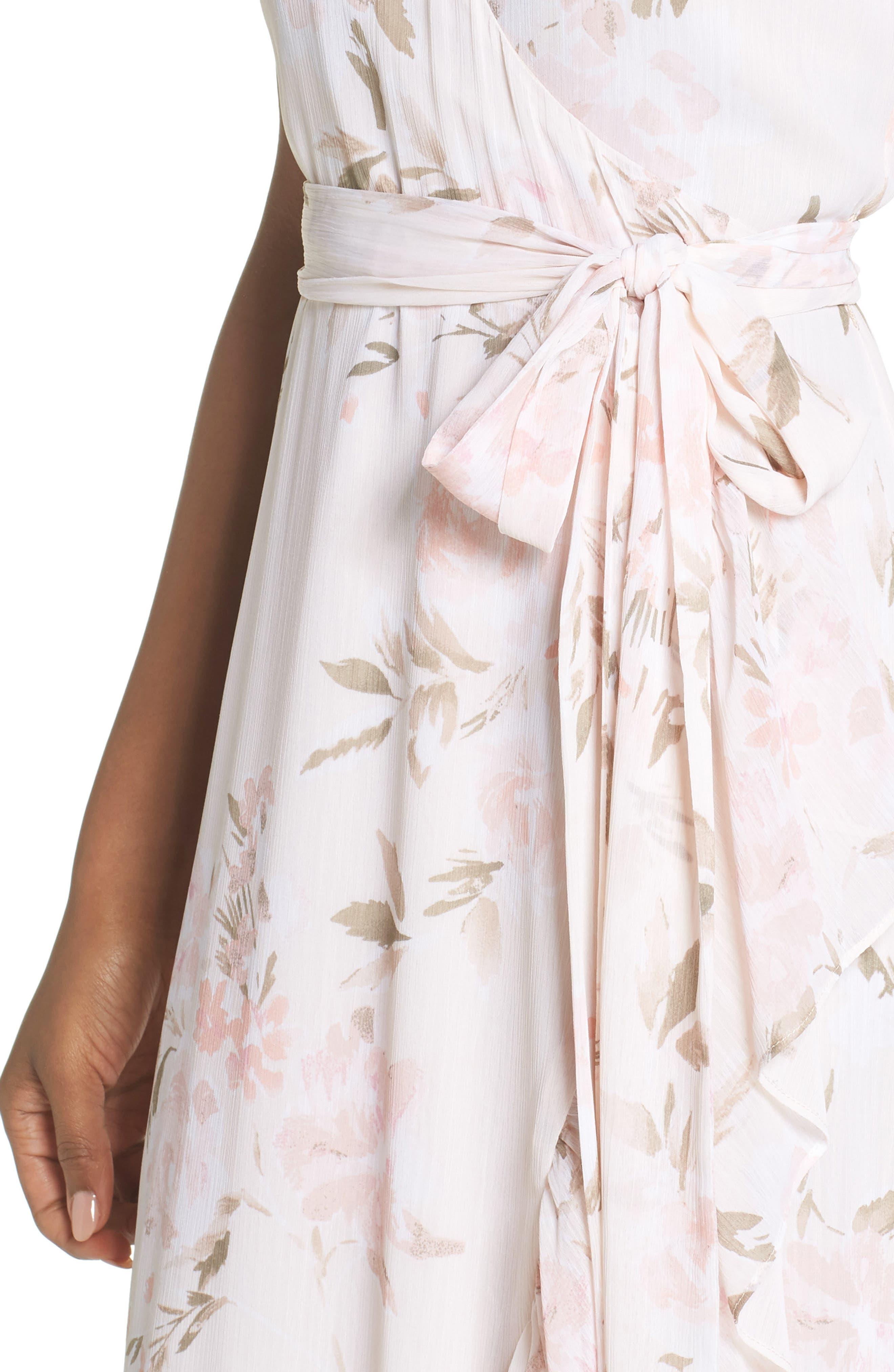 The Natasha Floral Wrap Maxi Dress,                             Alternate thumbnail 4, color,                             BLUSH BOUQUET PRINT