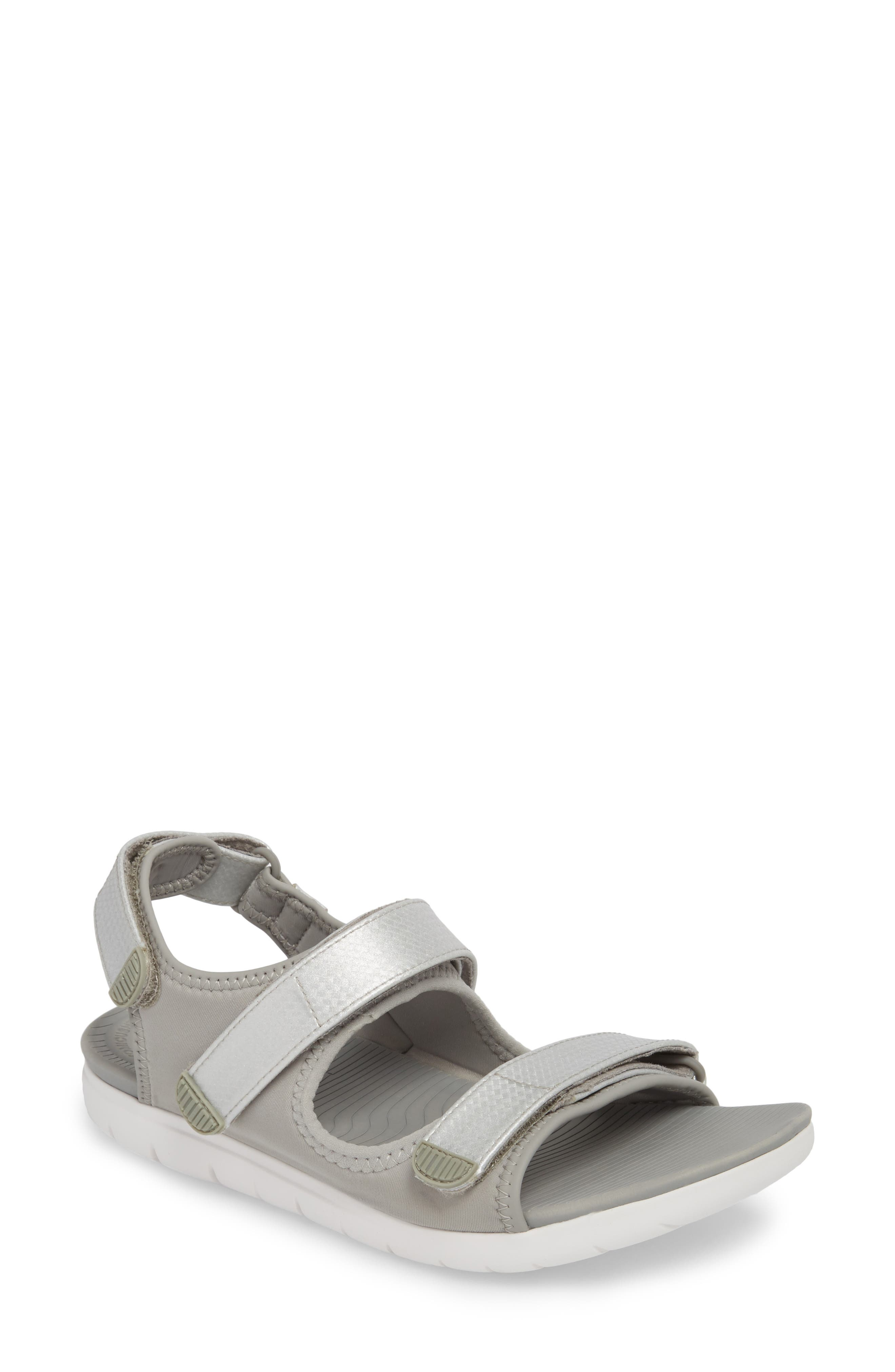 FitfFlop Neoflex<sup>™</sup> Back Strap Sandal,                             Main thumbnail 1, color,                             SOFT GREY/ SILVER LEATHER