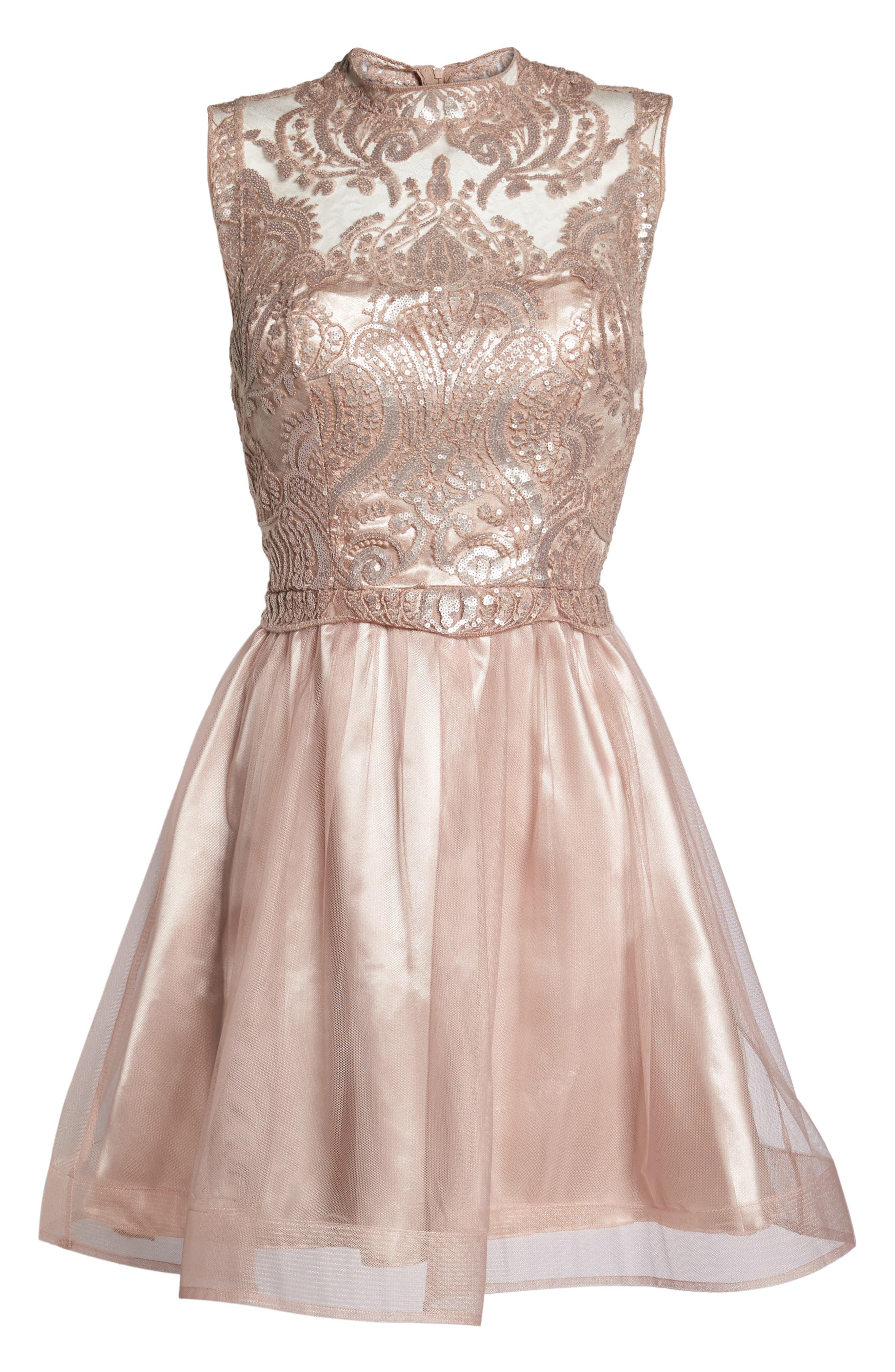 Lace Illusion Fit & Flare Dress,                             Alternate thumbnail 6, color,                             510