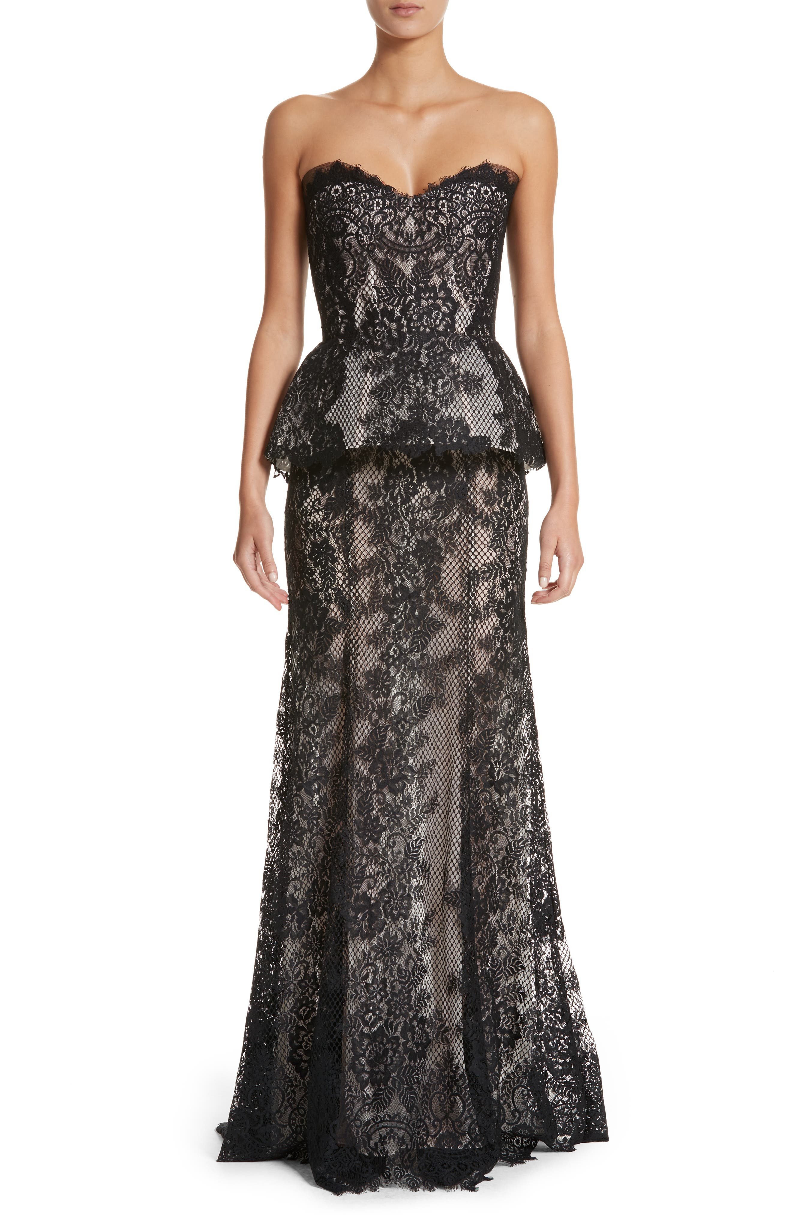Strapless Peplum Lace Gown,                         Main,                         color,