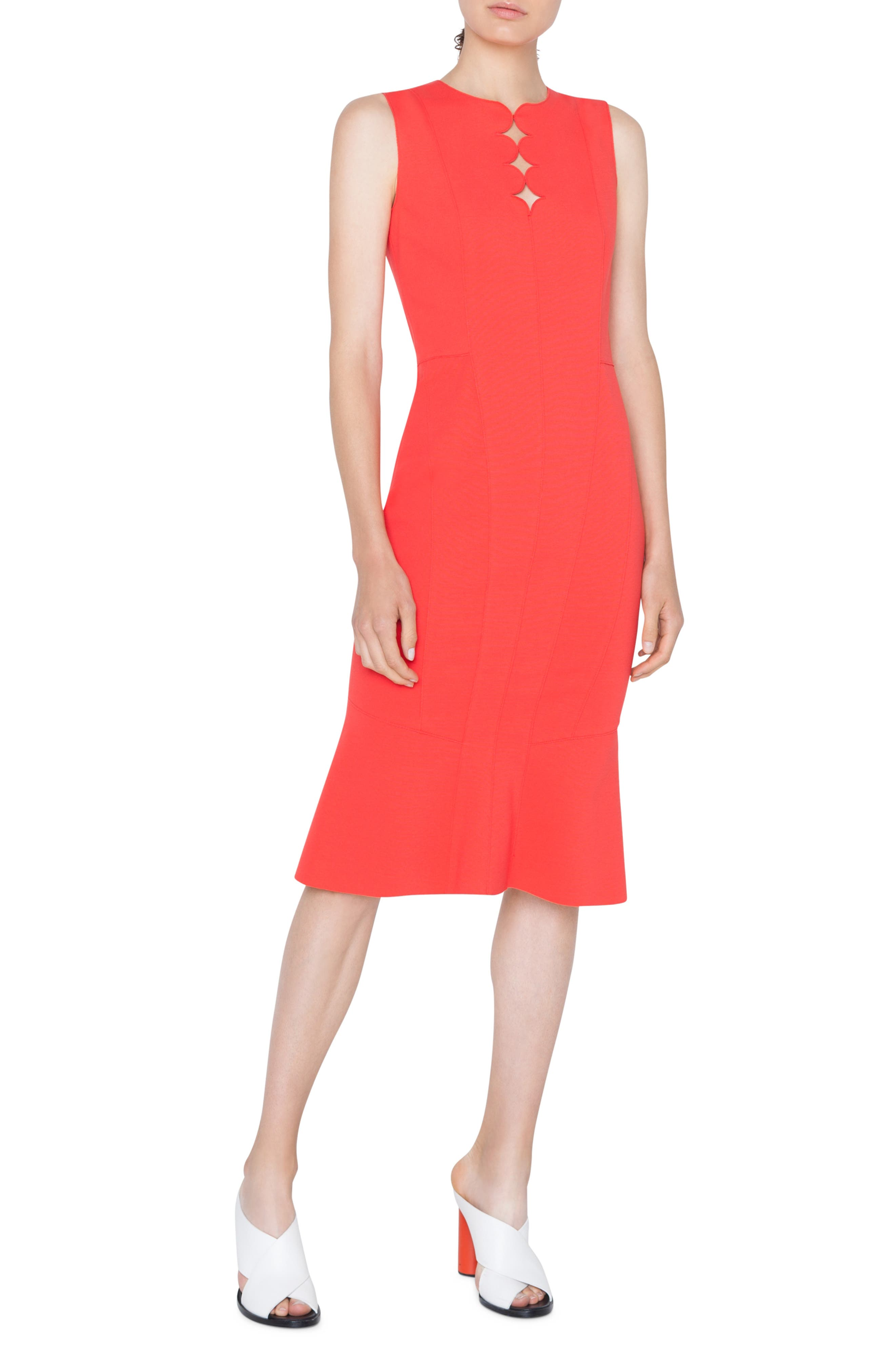 Sleeveless Jersey Dress With Memphis Scallop Detail in Rosso Forte