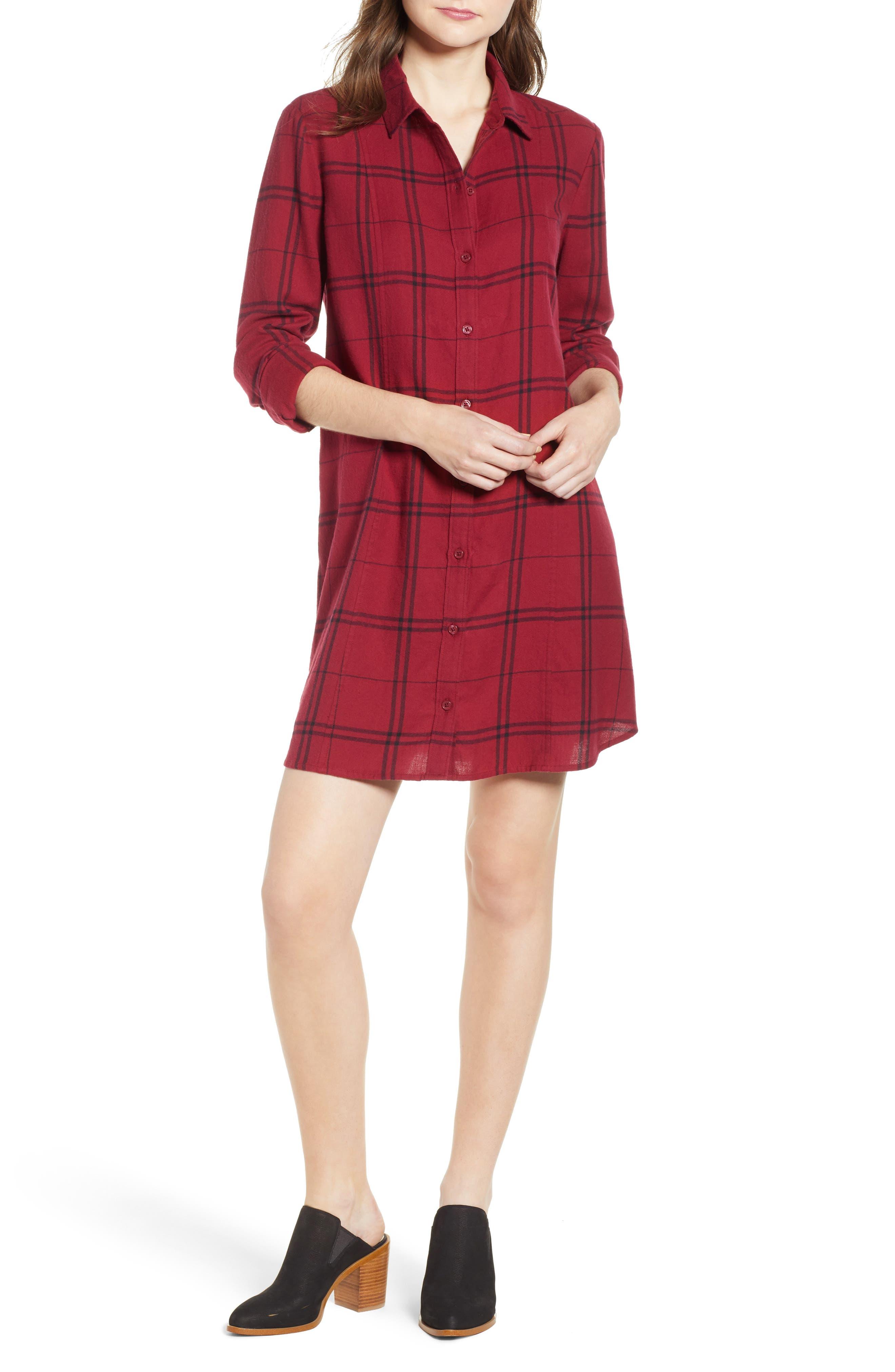 Plaid Shirt Dress,                             Main thumbnail 1, color,                             RED RUMBA SUNNY PLAID
