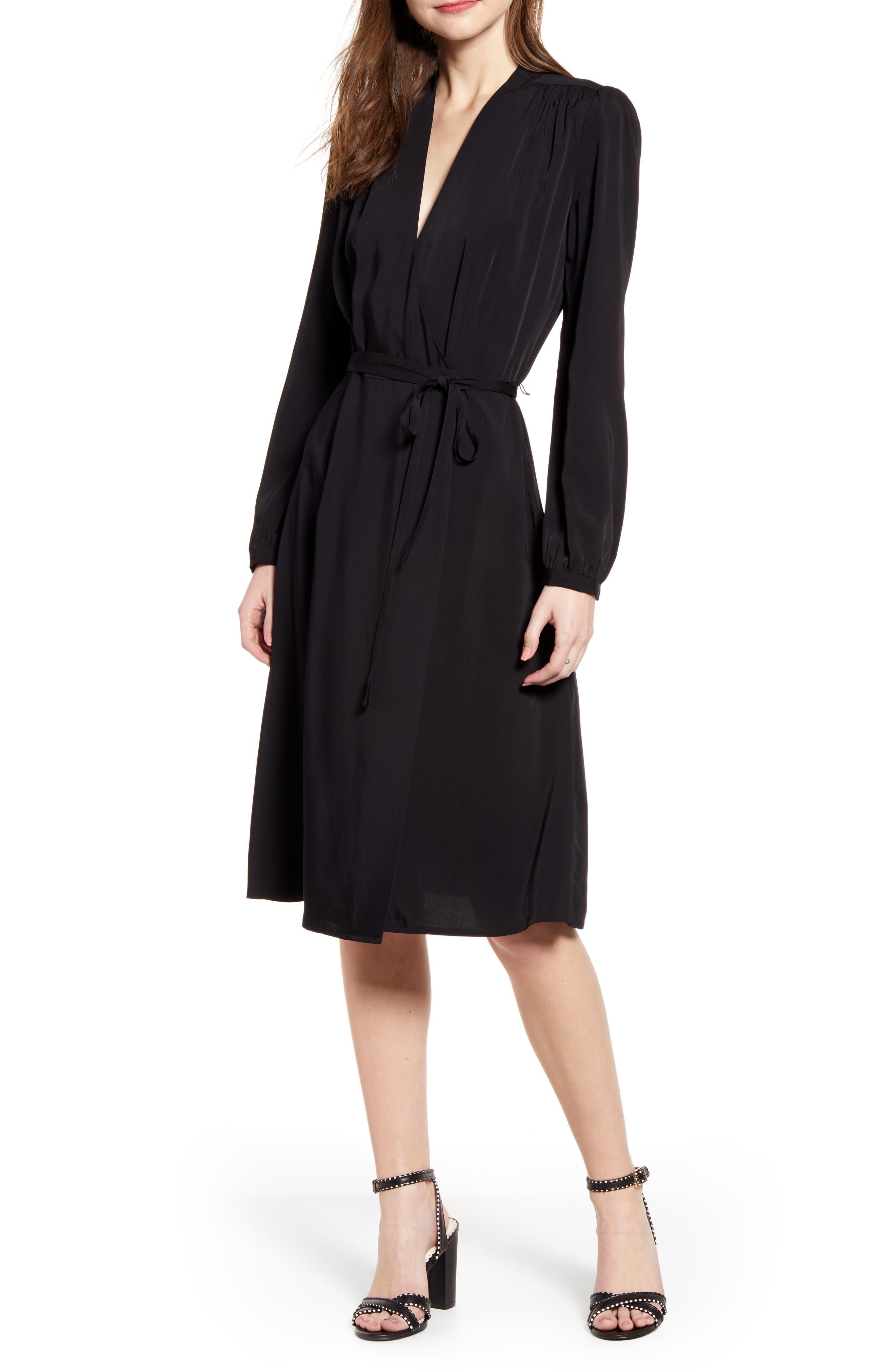 Chelsea28 Long Sleeve Midi Wrap Dress, Black